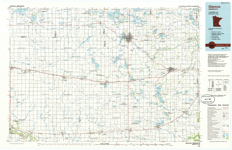 USGS 1:100000-SCALE QUADRANGLE FOR GLENCOE, MN 1986