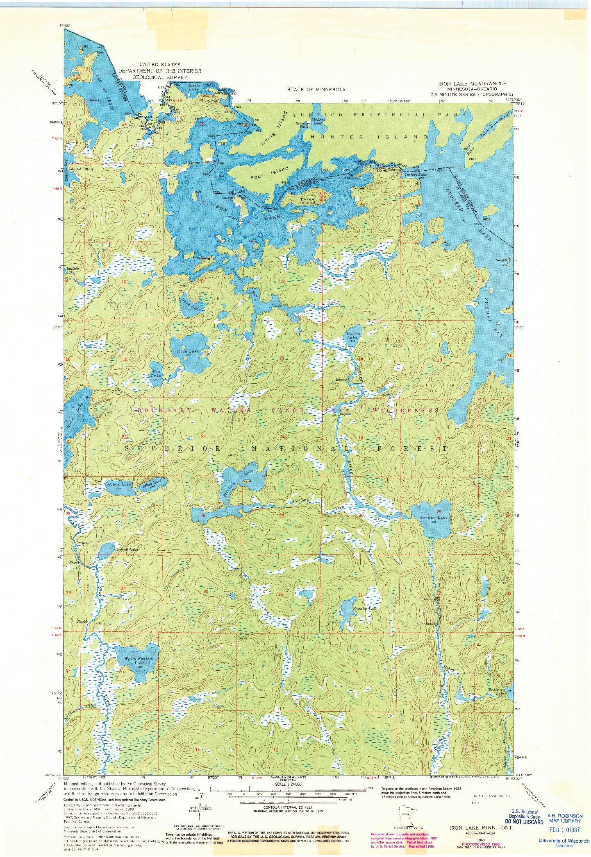 USGS 1:24000-SCALE QUADRANGLE FOR IRON LAKE, MN 1963