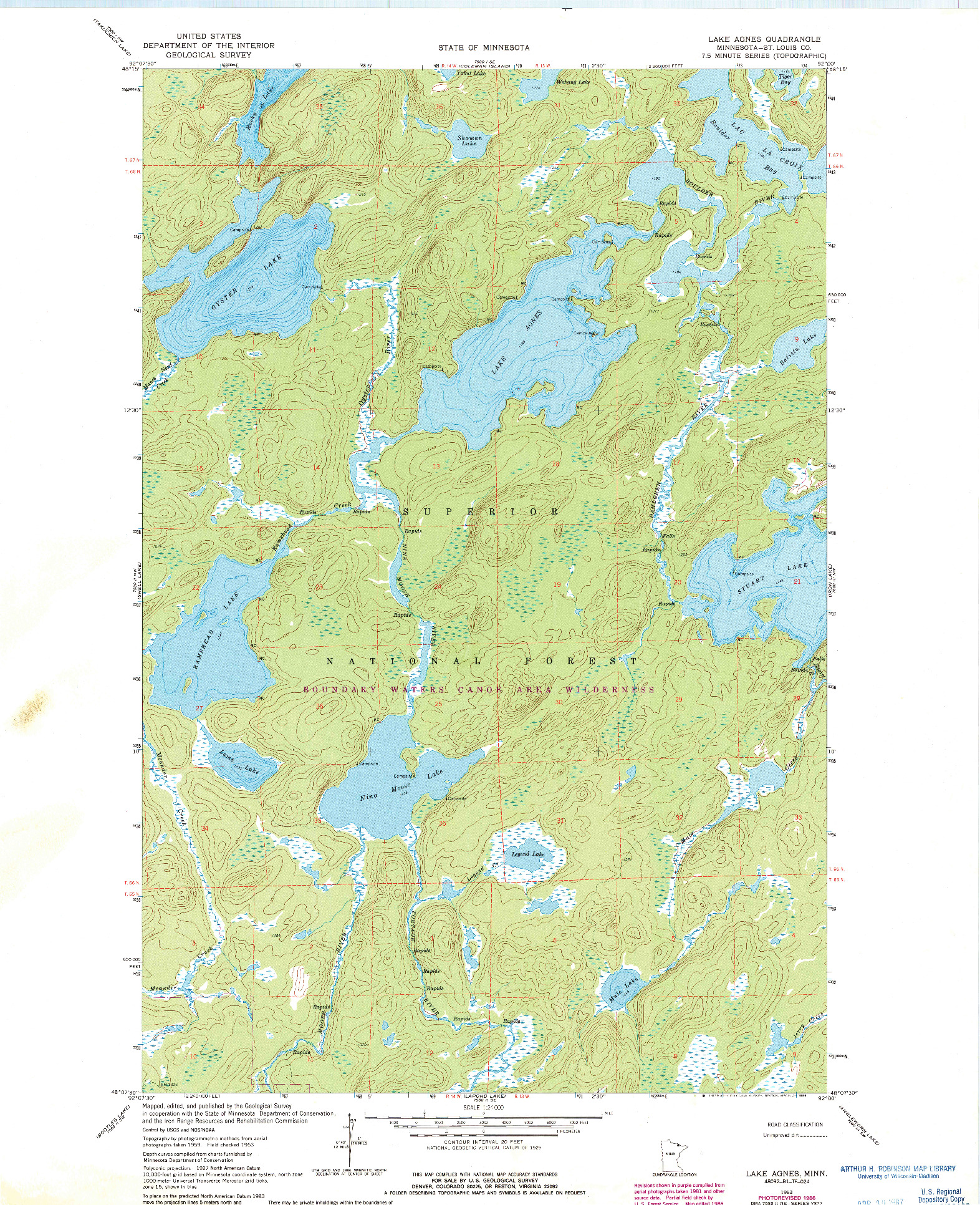 USGS 1:24000-SCALE QUADRANGLE FOR LAKE AGNES, MN 1963