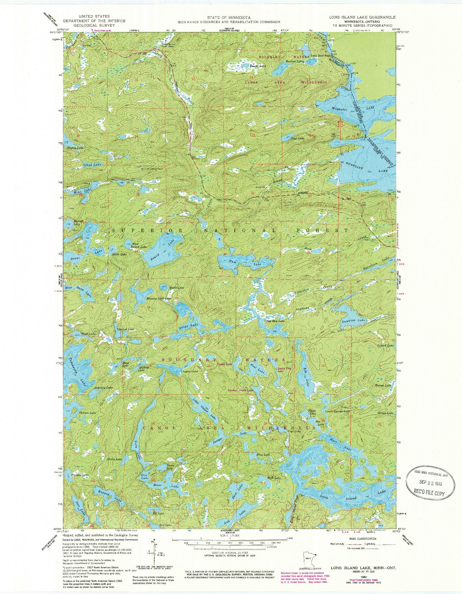 USGS 1:24000-SCALE QUADRANGLE FOR LONG ISLAND LAKE, MN 1960