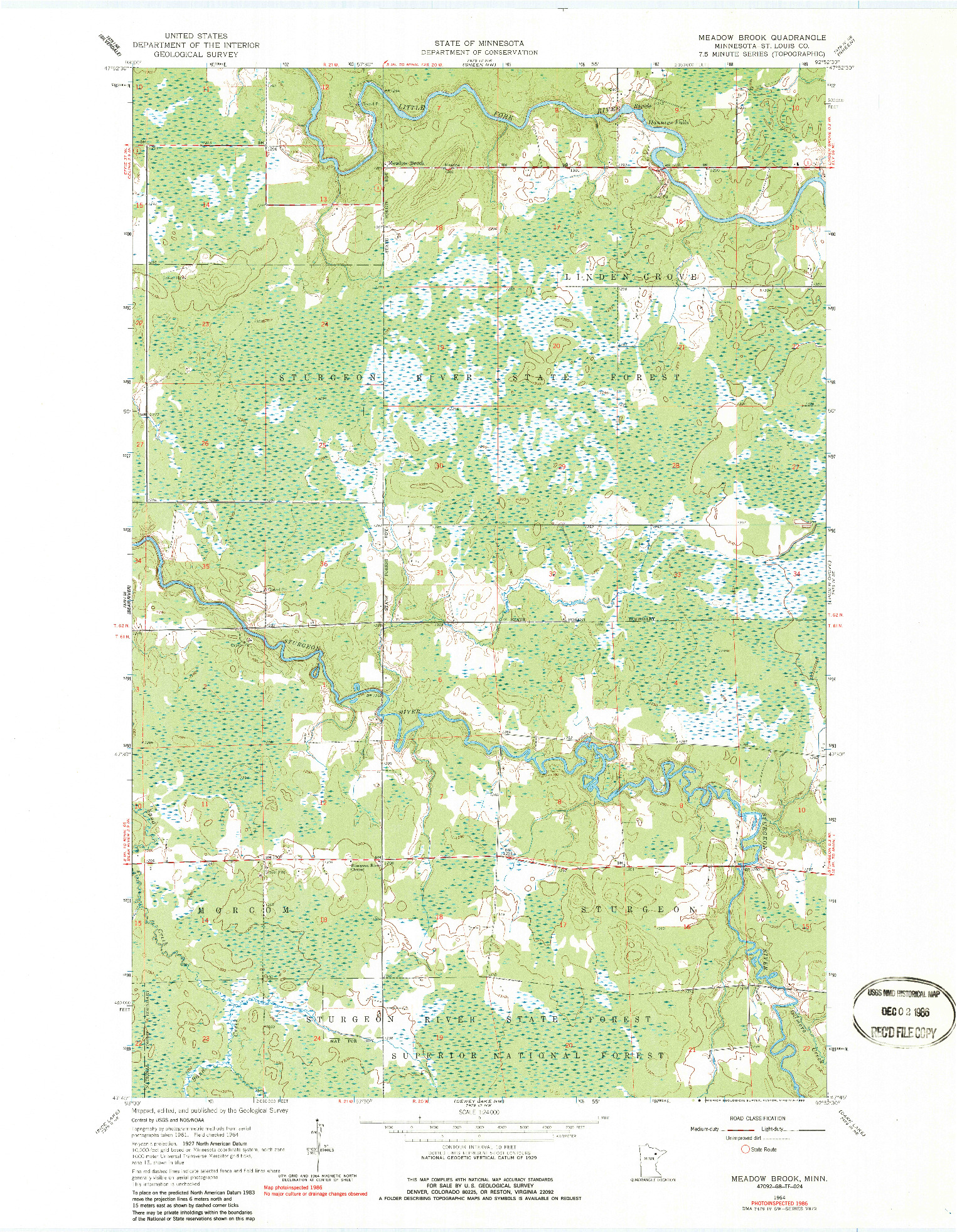 USGS 1:24000-SCALE QUADRANGLE FOR MEADOW BROOK, MN 1964