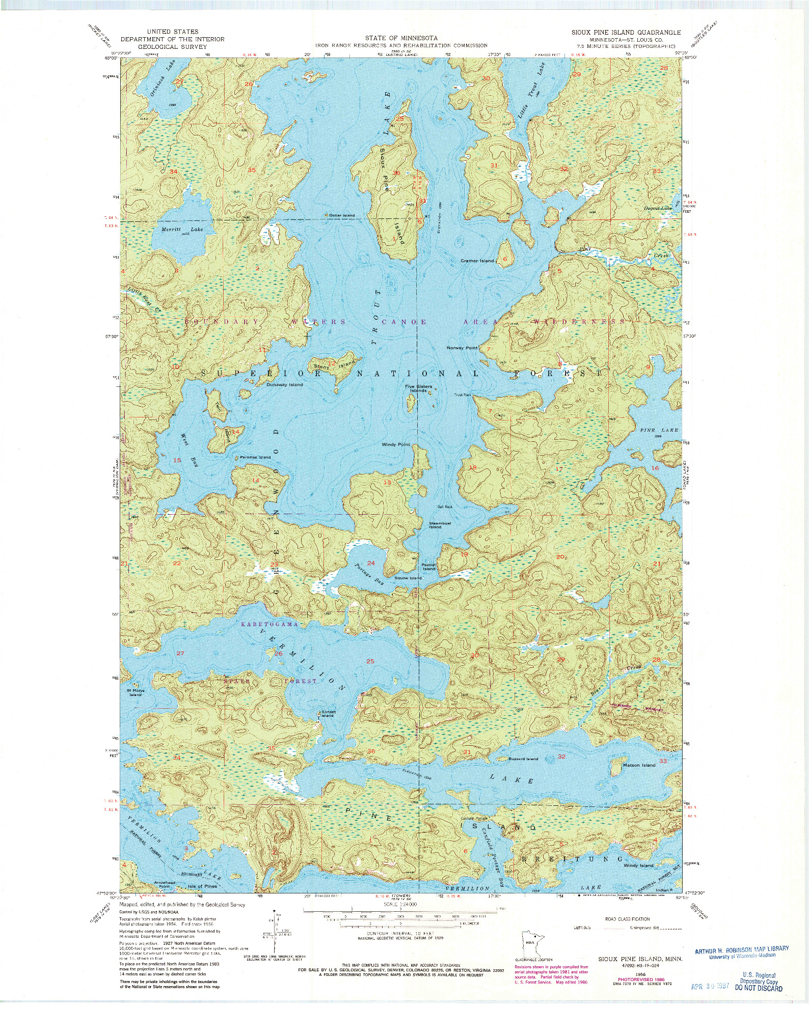 USGS 1:24000-SCALE QUADRANGLE FOR SIOUX PINE ISLAND, MN 1956