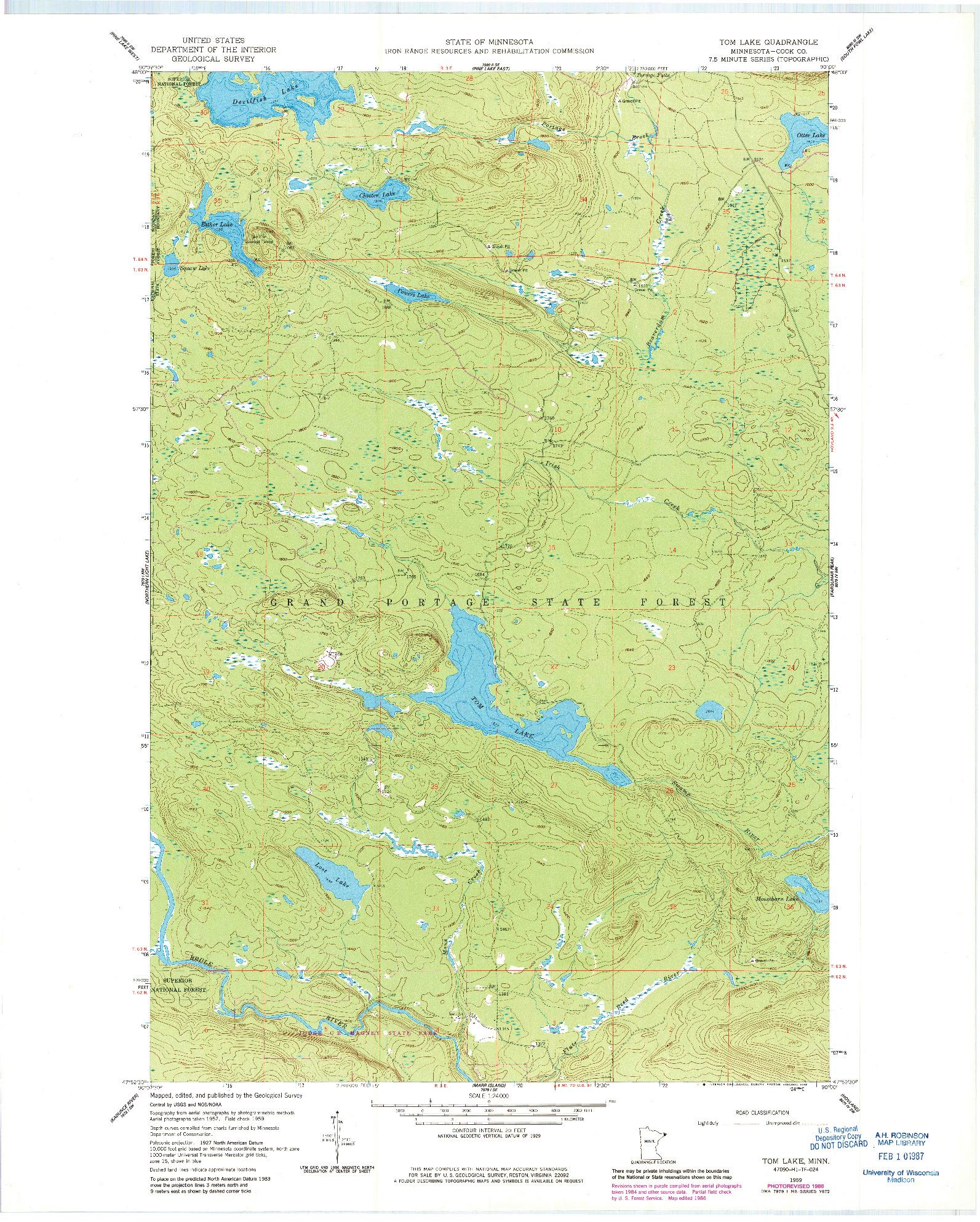 USGS 1:24000-SCALE QUADRANGLE FOR TOM LAKE, MN 1959