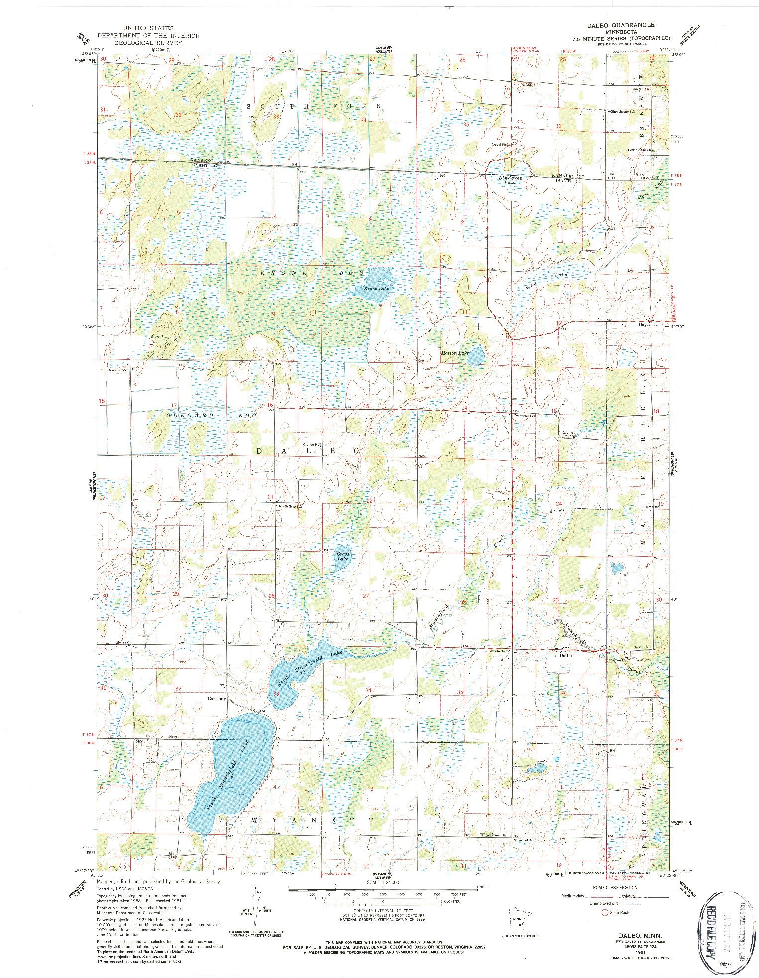 USGS 1:24000-SCALE QUADRANGLE FOR DALBO, MN 1961