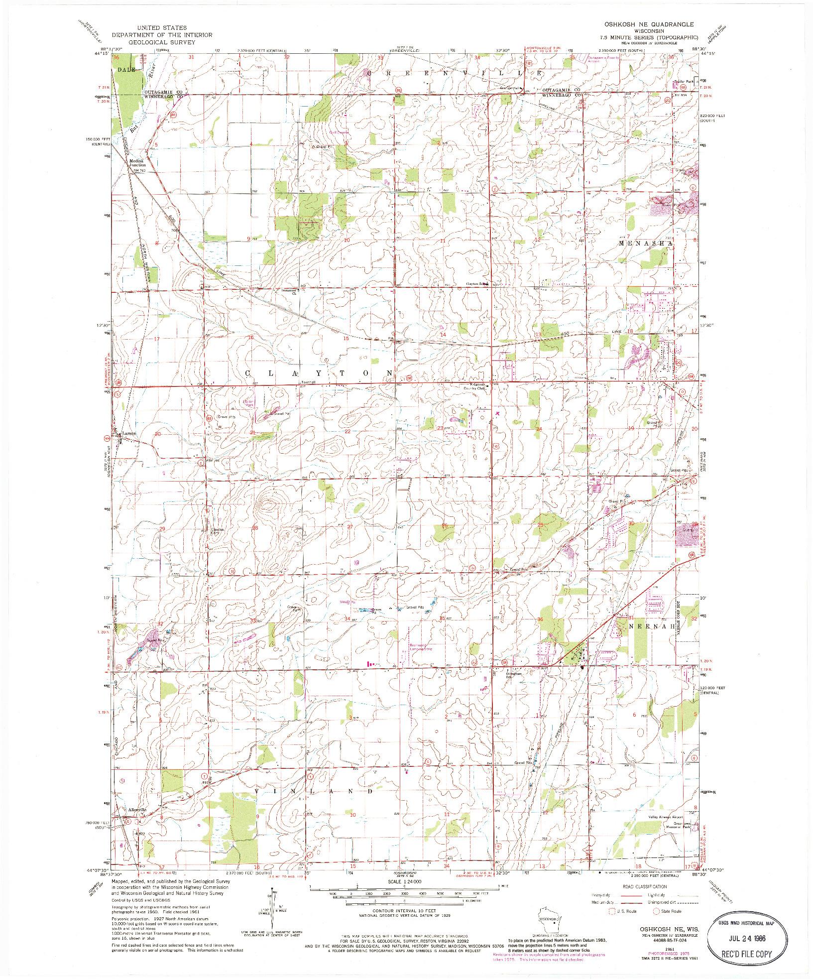 USGS 1:24000-SCALE QUADRANGLE FOR OSHKOSH NE, WI 1961