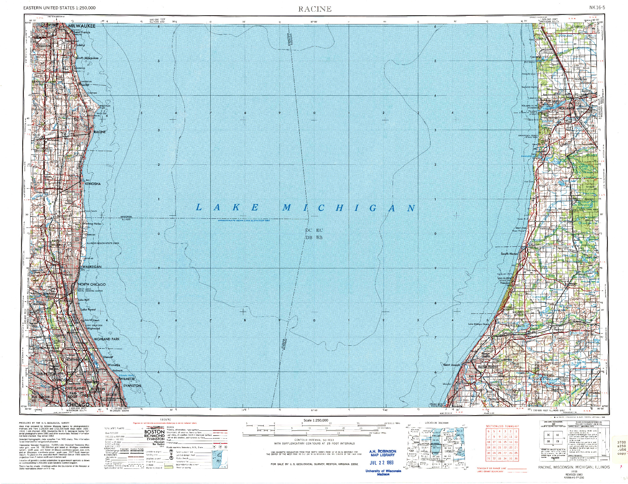 USGS 1:250000-SCALE QUADRANGLE FOR RACINE, WI 1958