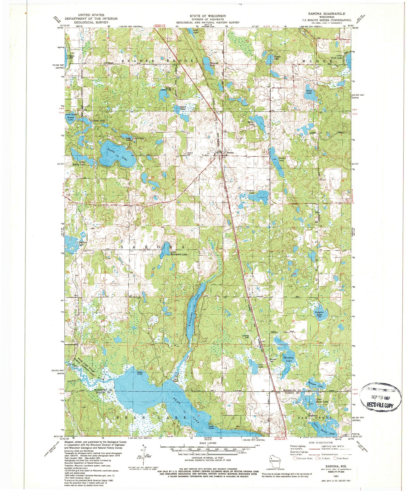 USGS 1:24000-SCALE QUADRANGLE FOR SARONA, WI 1981