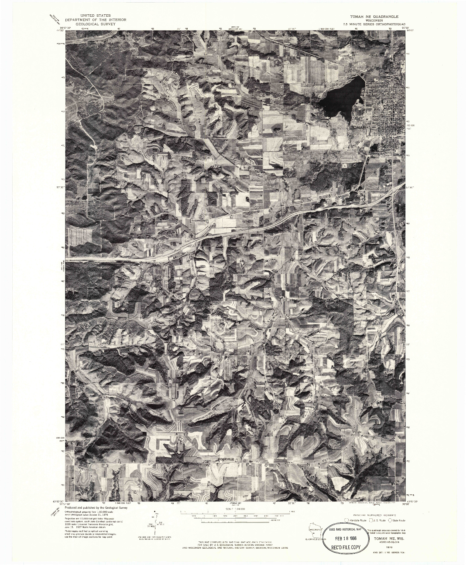 USGS 1:24000-SCALE QUADRANGLE FOR TOMAH NE, WI 1976