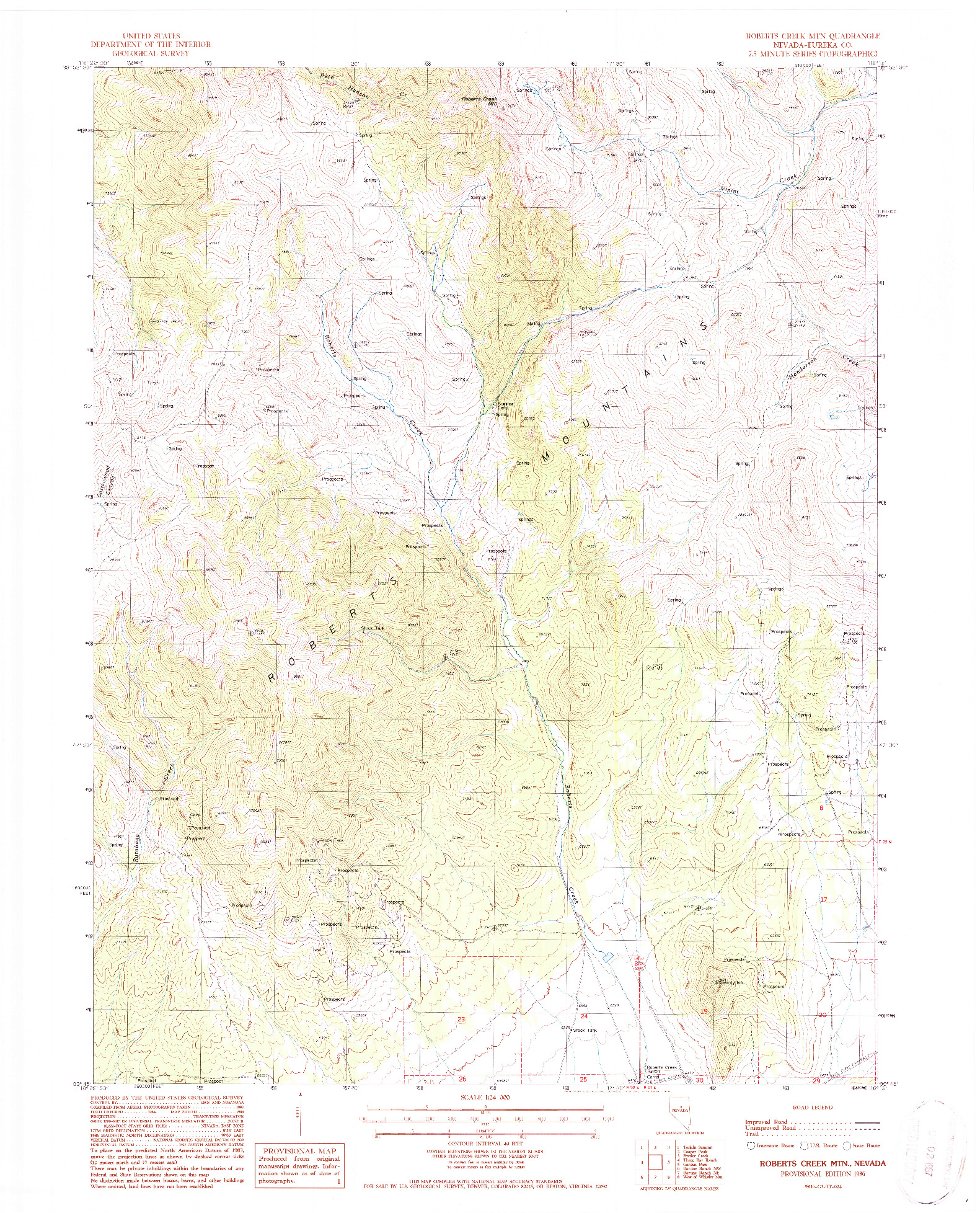 USGS 1:24000-SCALE QUADRANGLE FOR ROBERTS CREEK MTN., NV 1986
