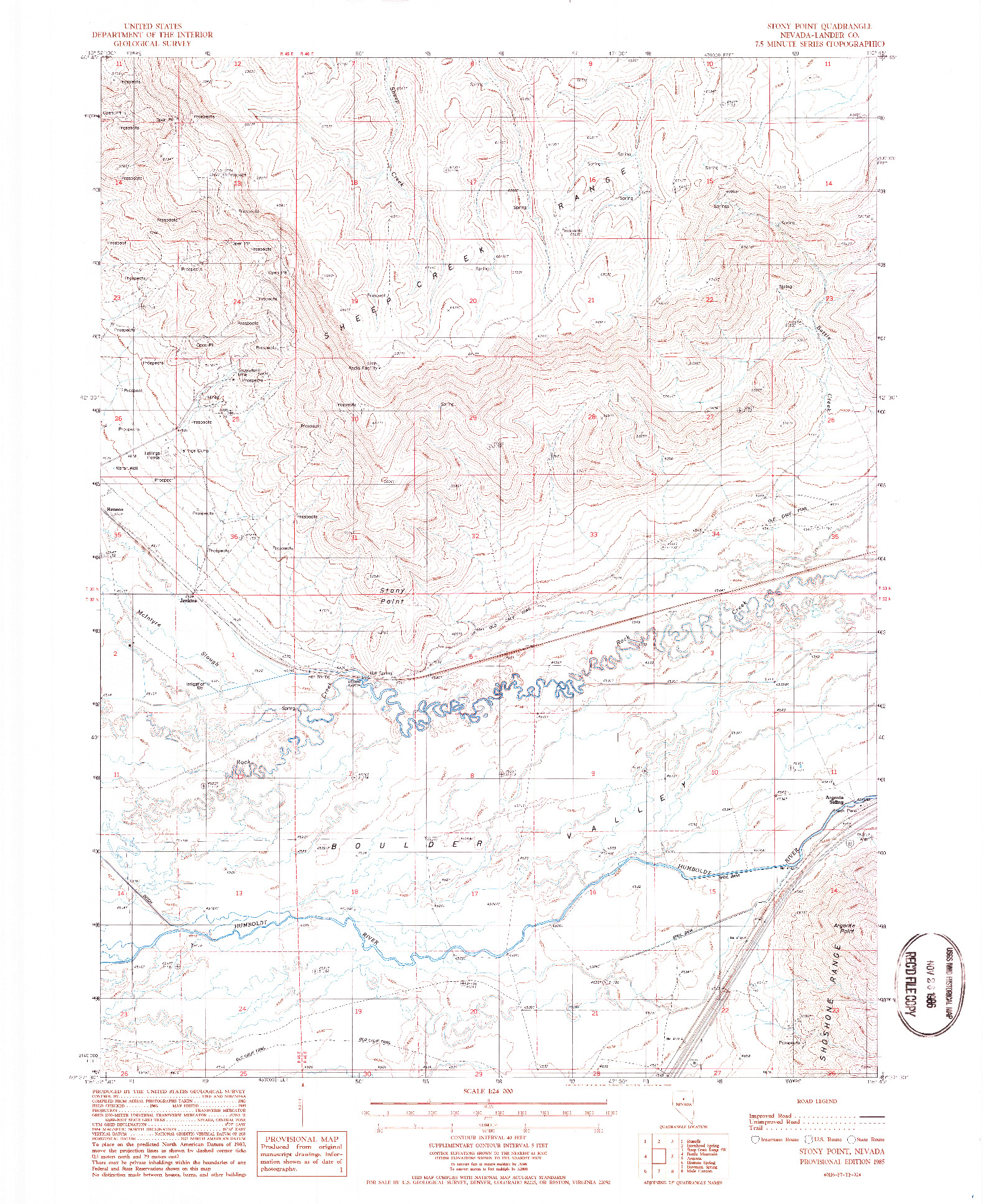 USGS 1:24000-SCALE QUADRANGLE FOR STONY POINT, NV 1985