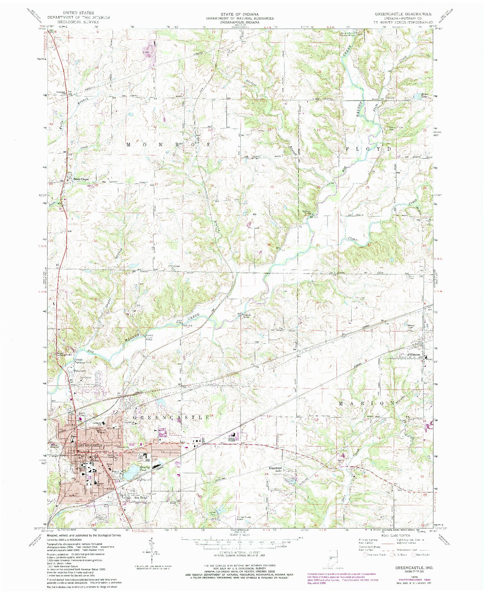 USGS 1:24000-SCALE QUADRANGLE FOR GREENCASTLE, IN 1970