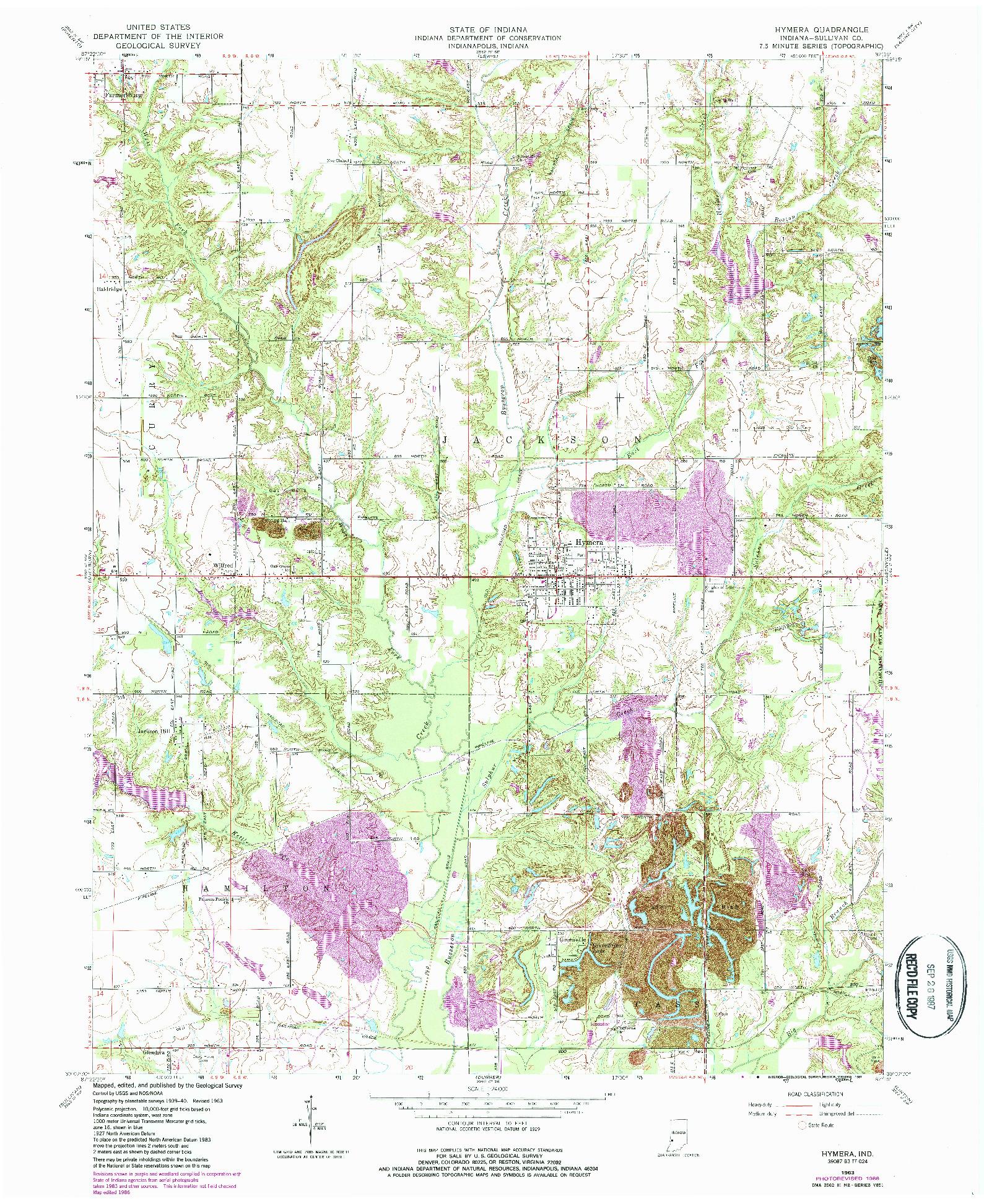 USGS 1:24000-SCALE QUADRANGLE FOR HYMERA, IN 1963