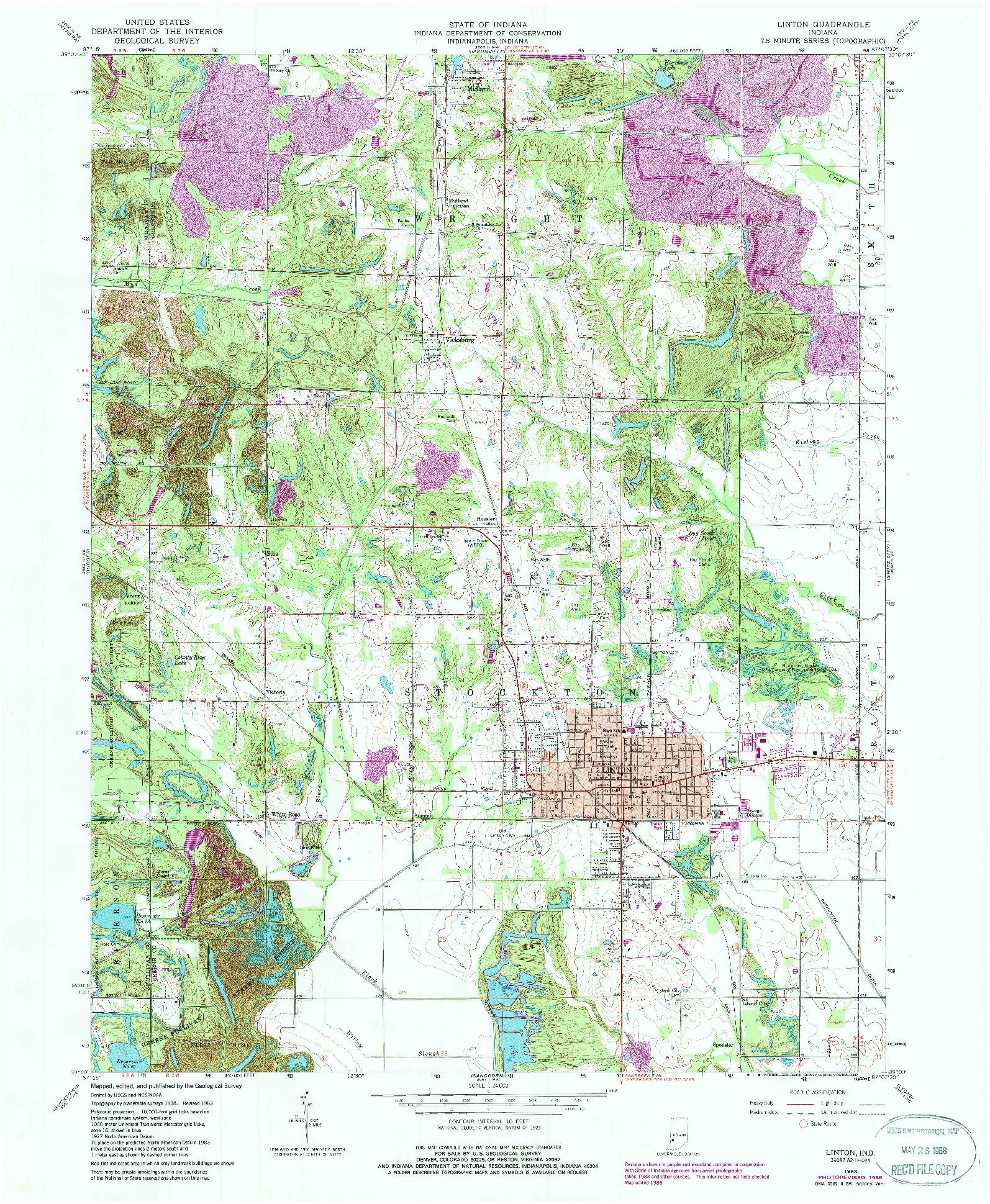 USGS 1:24000-SCALE QUADRANGLE FOR LINTON, IN 1963