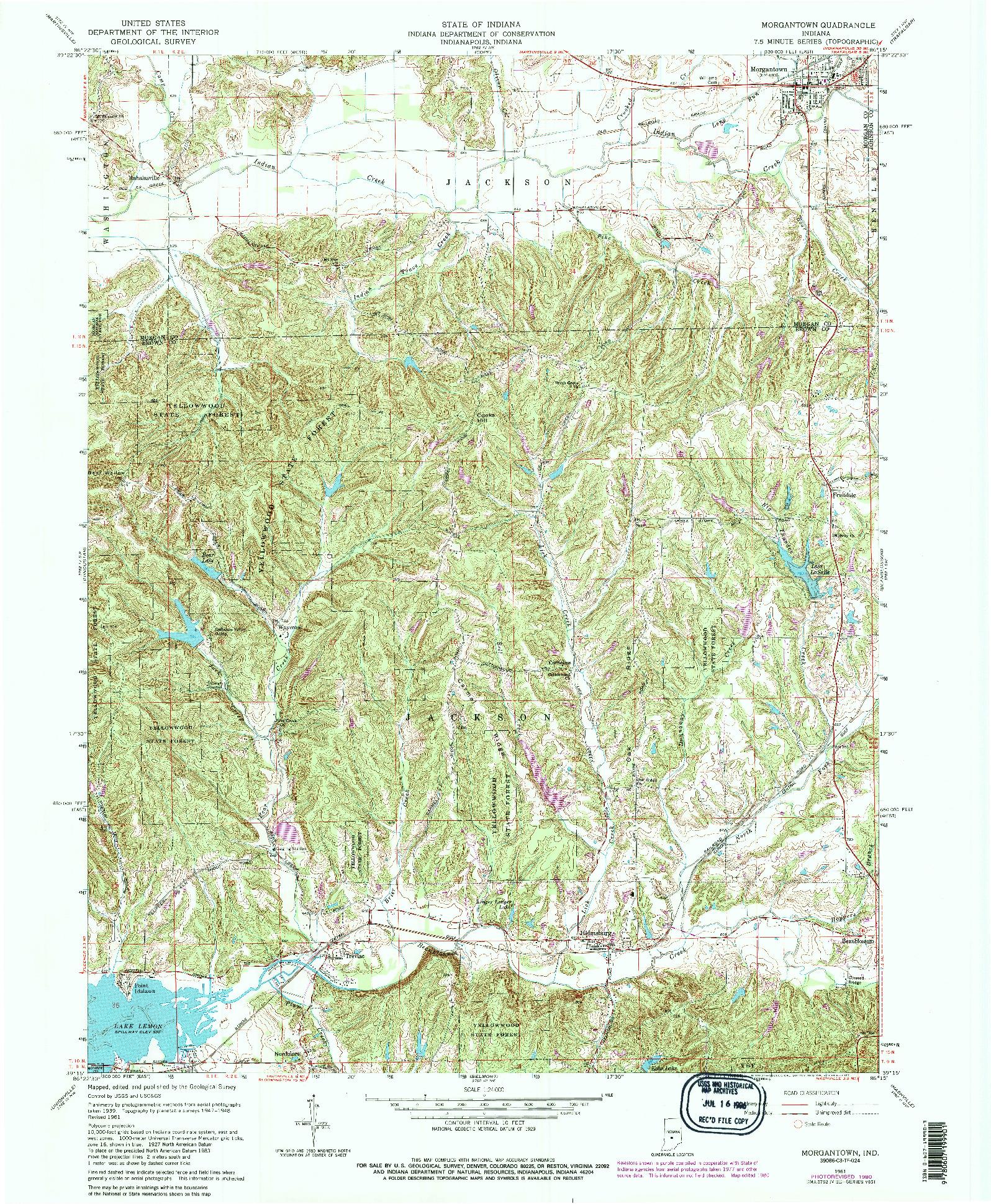 USGS 1:24000-SCALE QUADRANGLE FOR MORGANTOWN, IN 1961