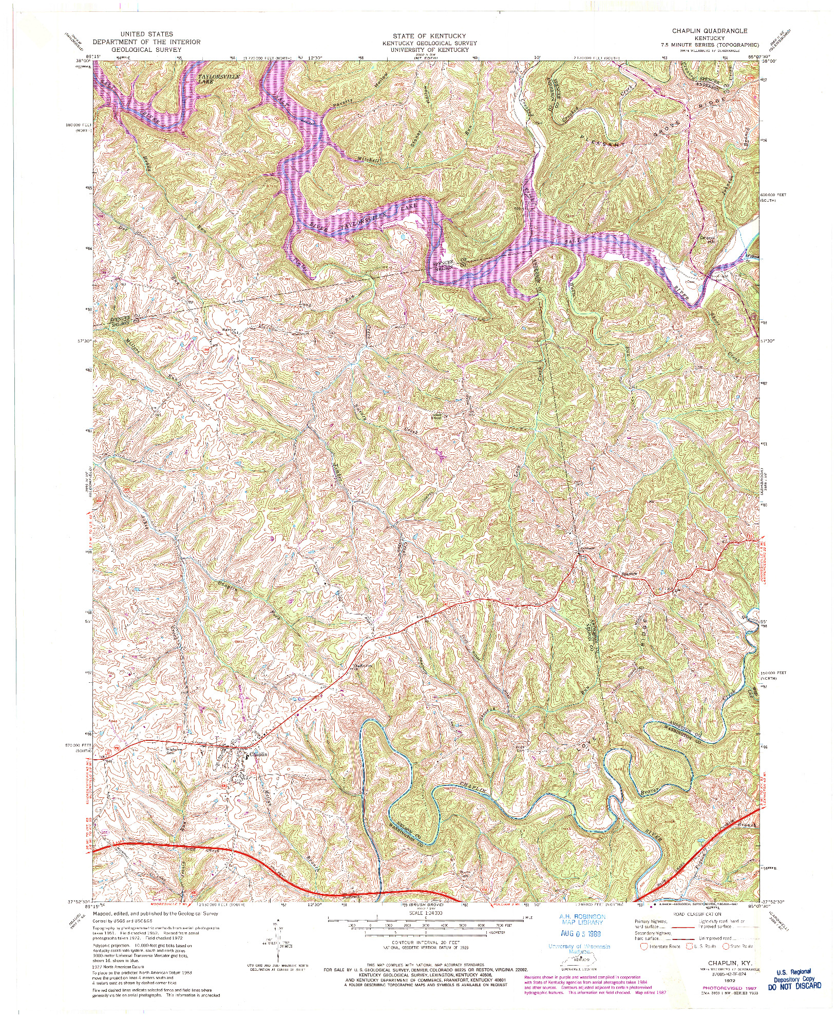 USGS 1:24000-SCALE QUADRANGLE FOR CHAPLIN, KY 1972