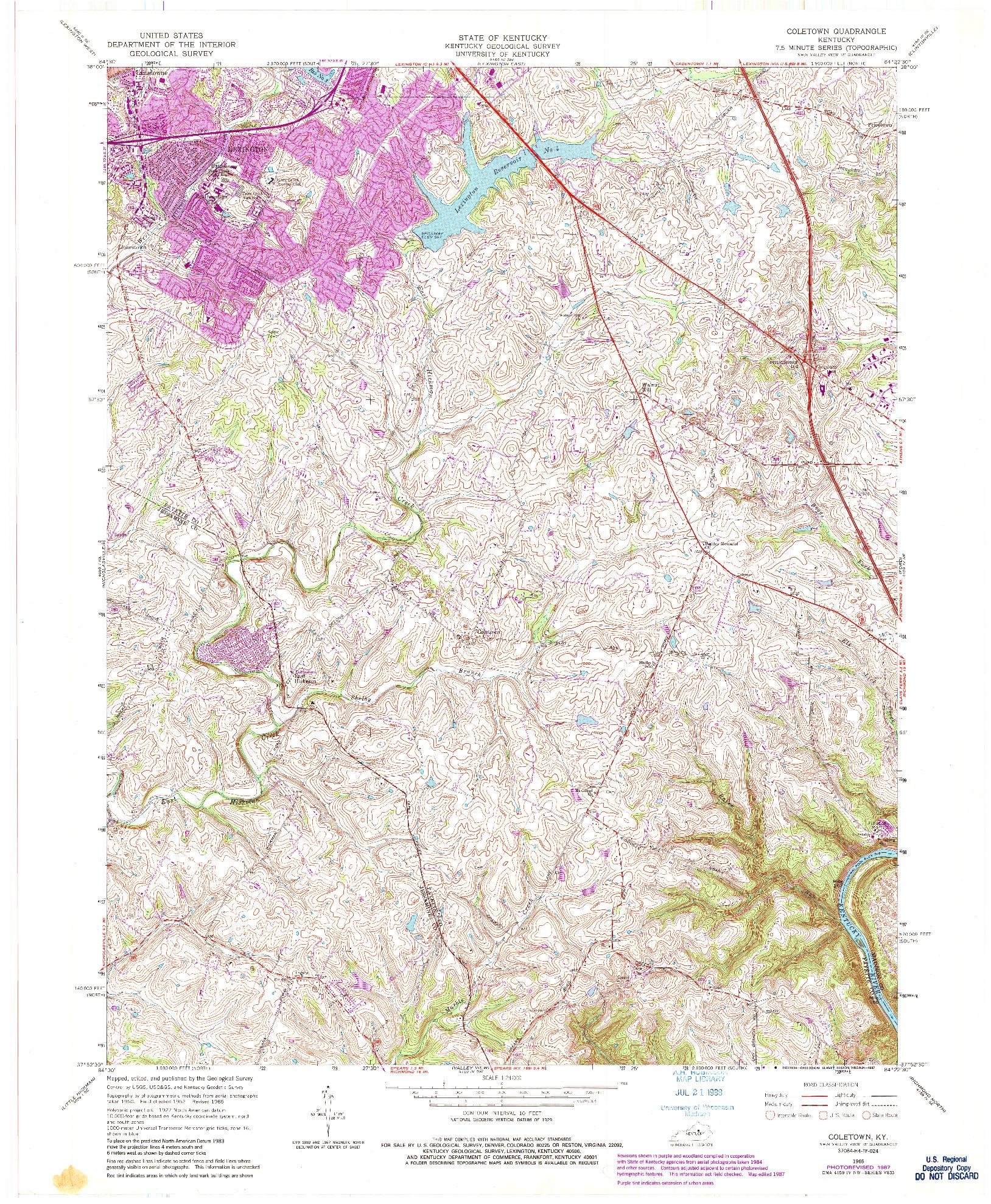 USGS 1:24000-SCALE QUADRANGLE FOR COLETOWN, KY 1965