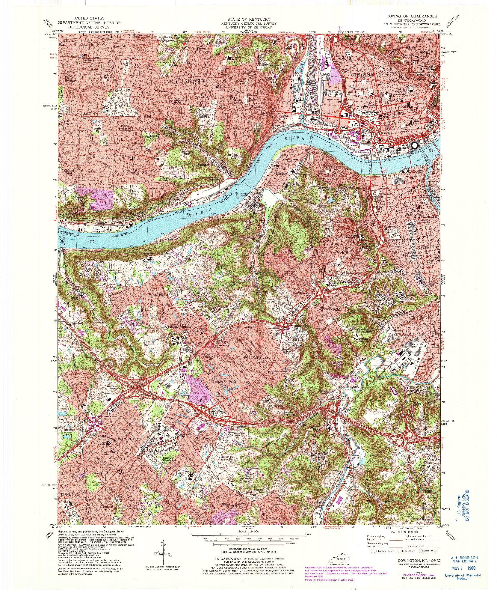 USGS 1:24000-SCALE QUADRANGLE FOR COVINGTON, KY 1981
