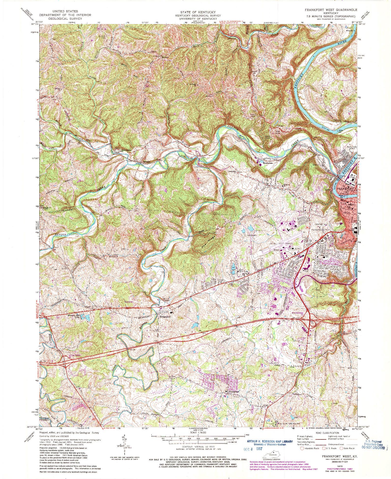 USGS 1:24000-SCALE QUADRANGLE FOR FRANKFORT WEST, KY 1970