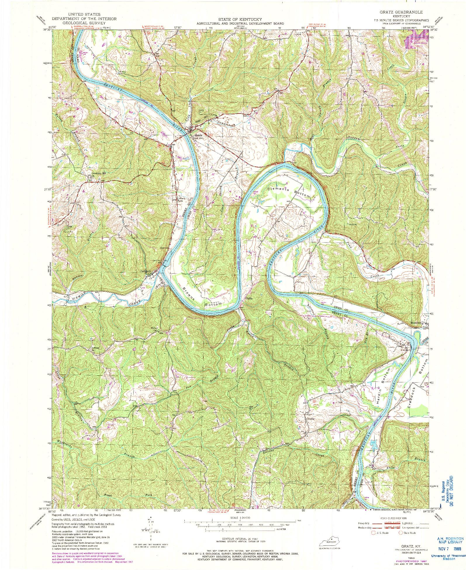 USGS 1:24000-SCALE QUADRANGLE FOR GRATZ, KY 1953
