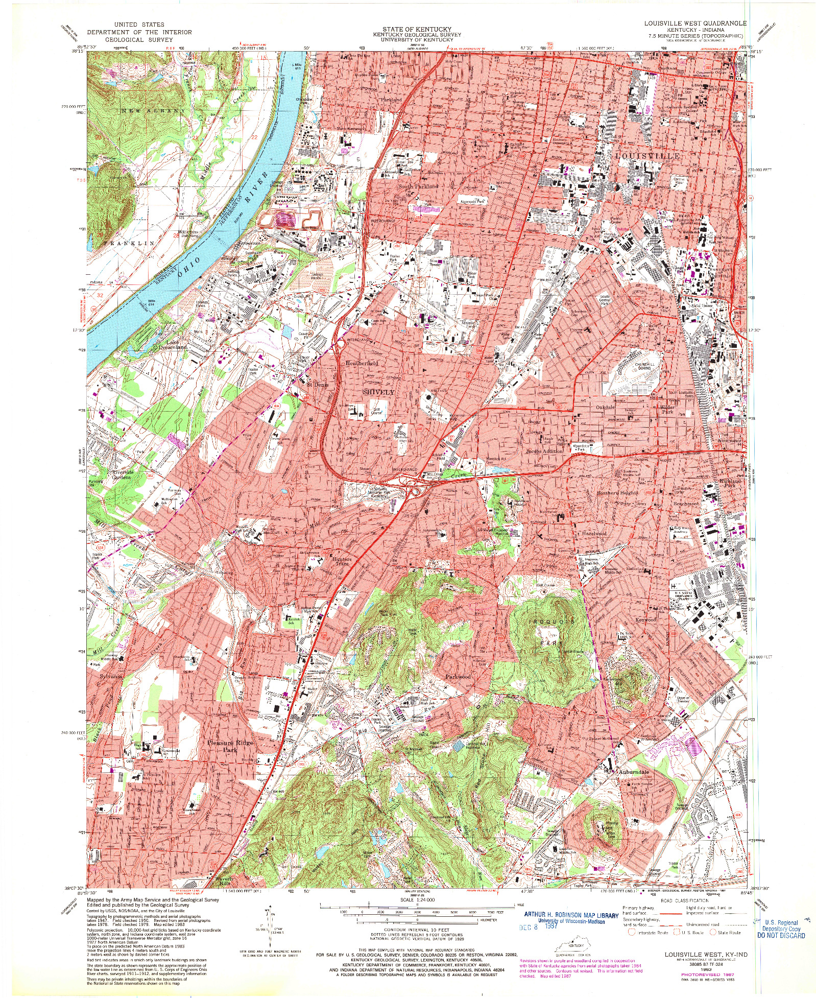 USGS 1:24000-SCALE QUADRANGLE FOR LOUISVILLE WEST, KY 1983