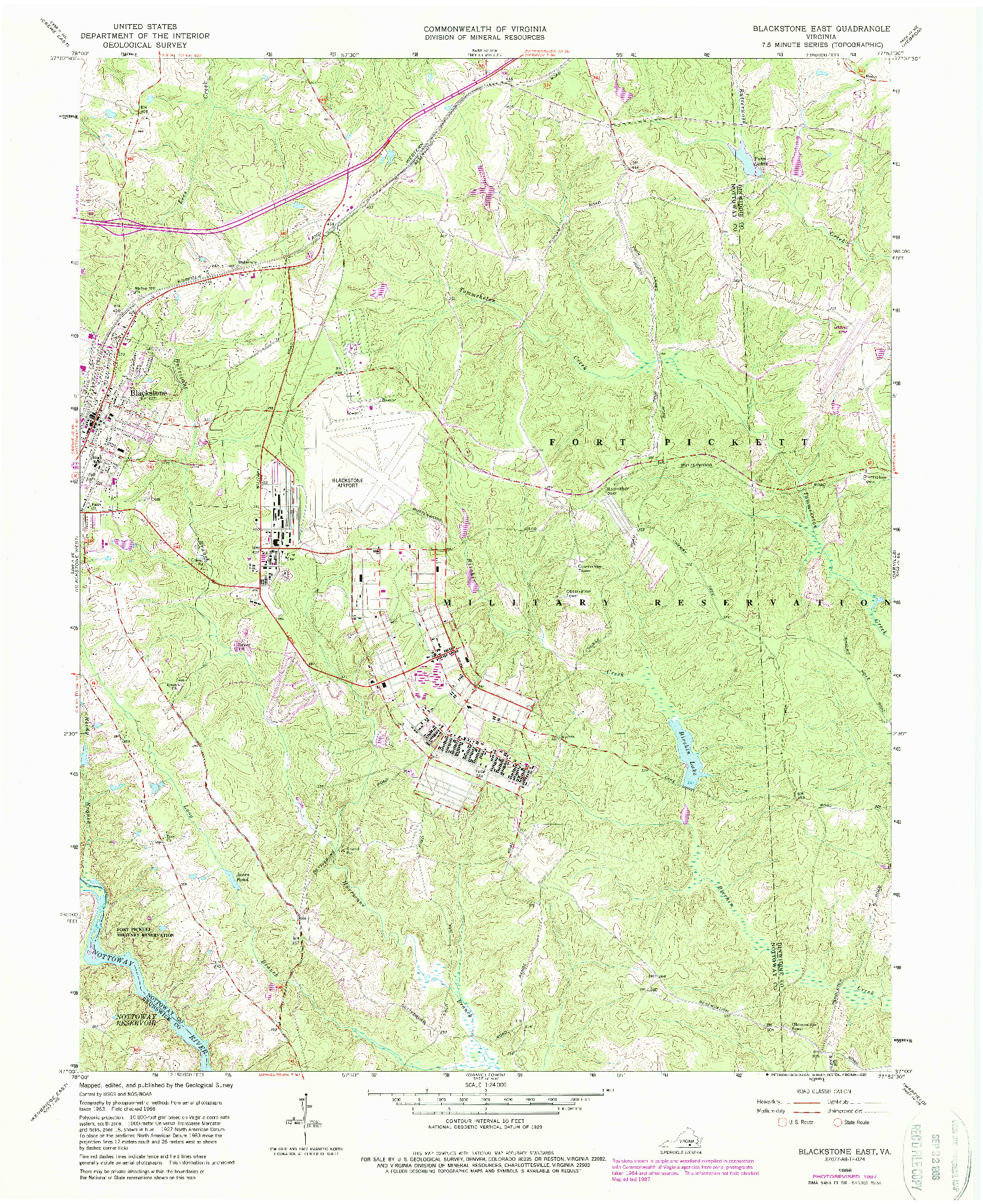 USGS 1:24000-SCALE QUADRANGLE FOR BLACKSTONE EAST, VA 1966