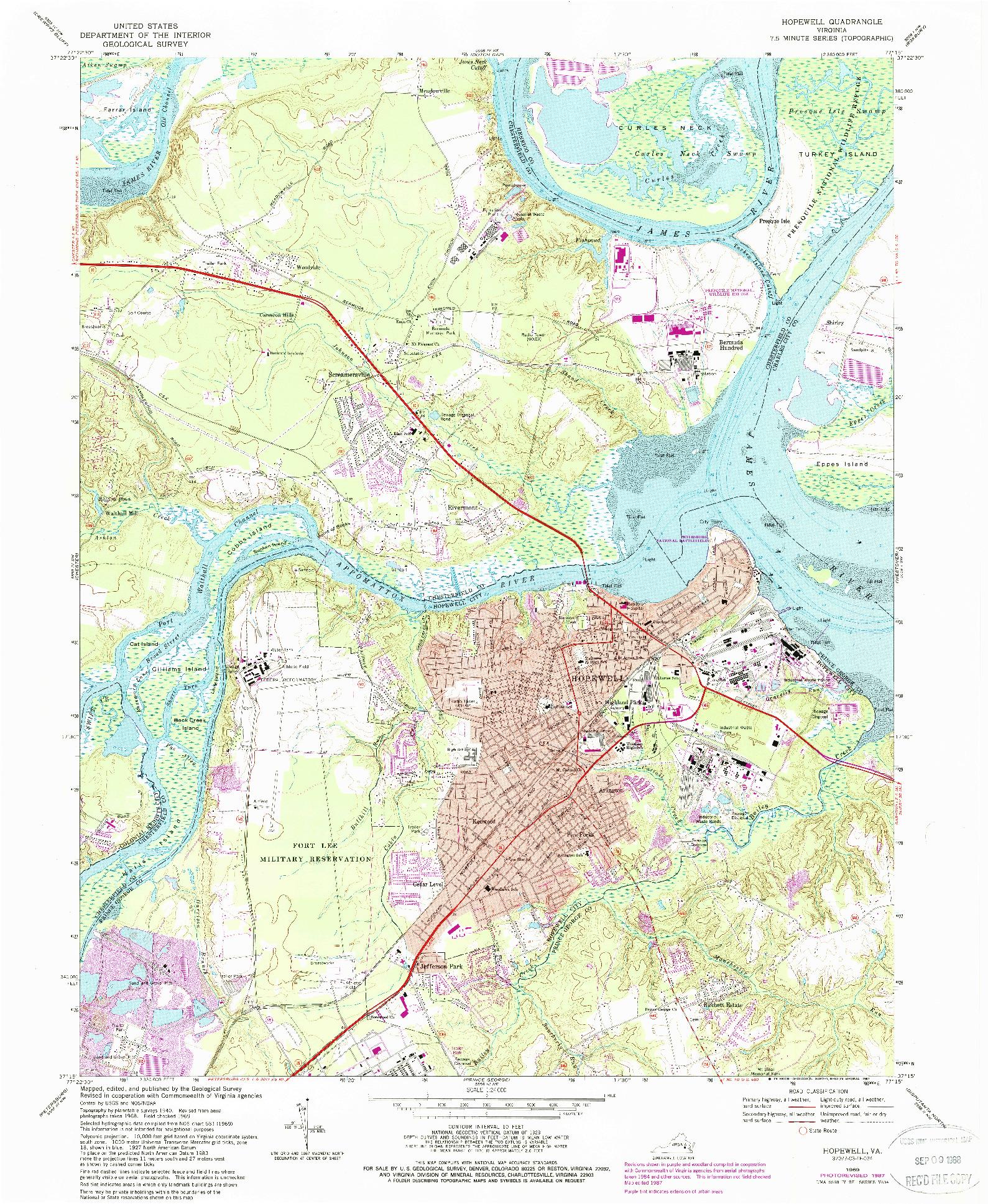 USGS 1:24000-SCALE QUADRANGLE FOR HOPEWELL, VA 1969