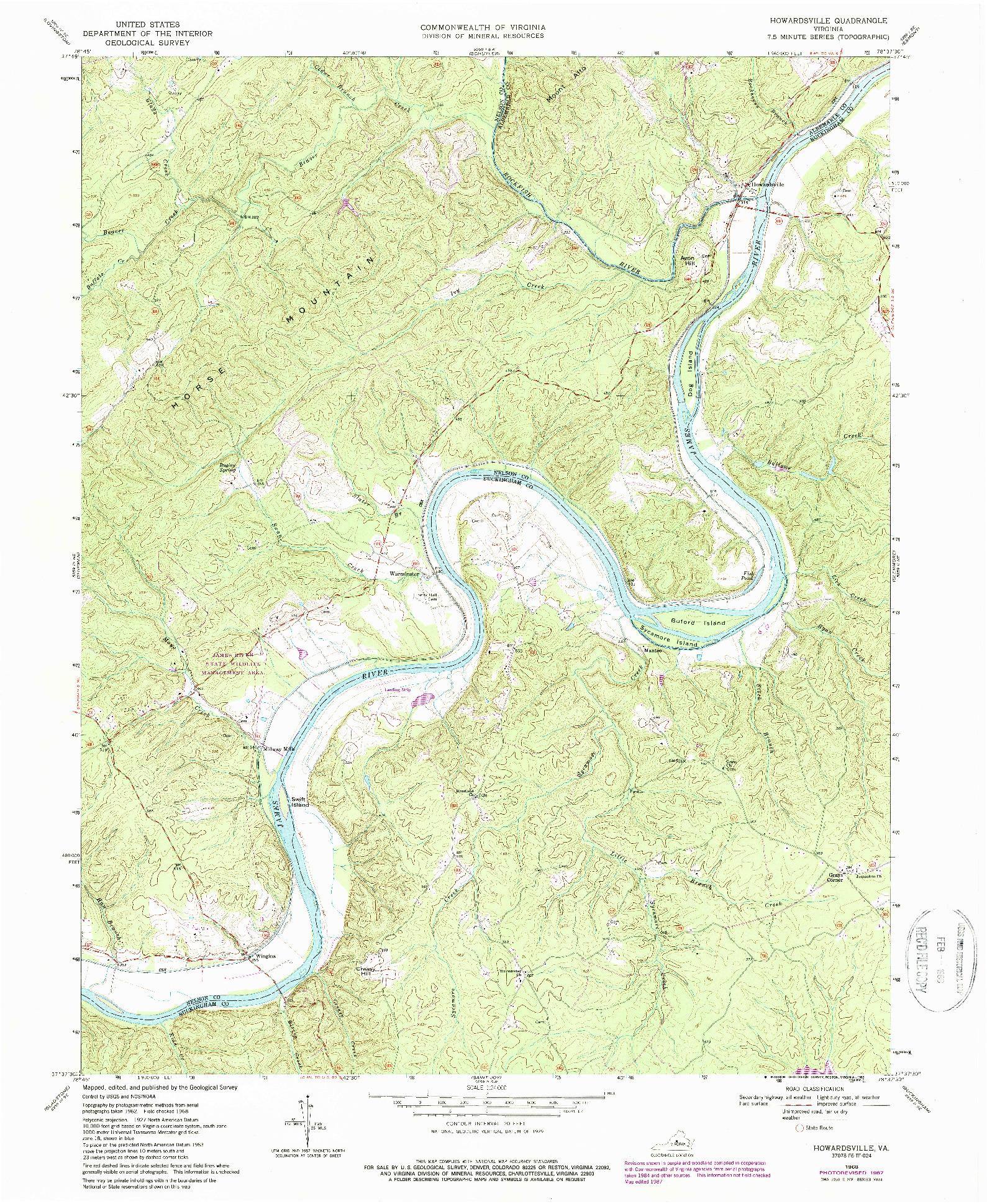 USGS 1:24000-SCALE QUADRANGLE FOR HOWARDSVILLE, VA 1968