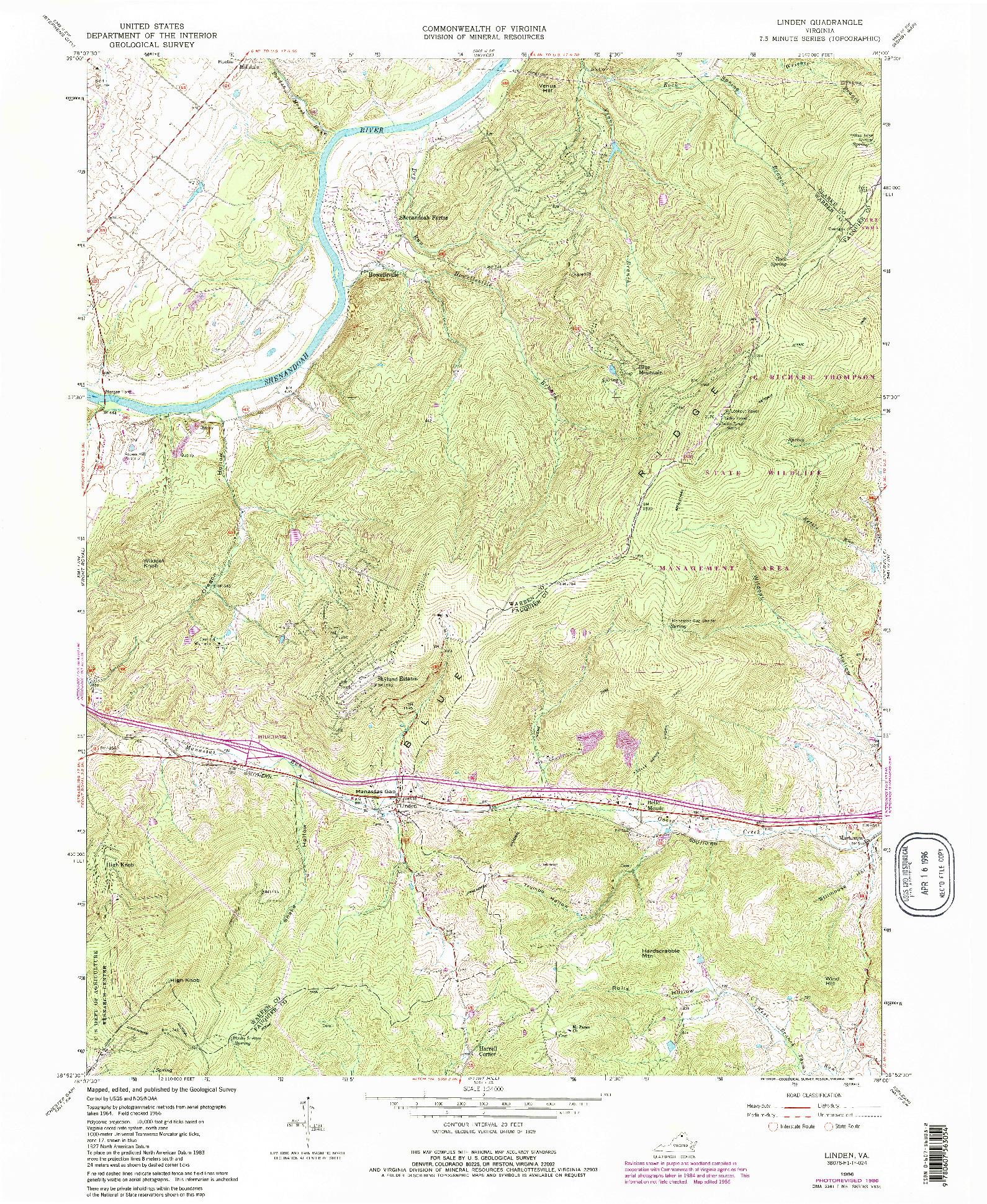 USGS 1:24000-SCALE QUADRANGLE FOR LINDEN, VA 1986