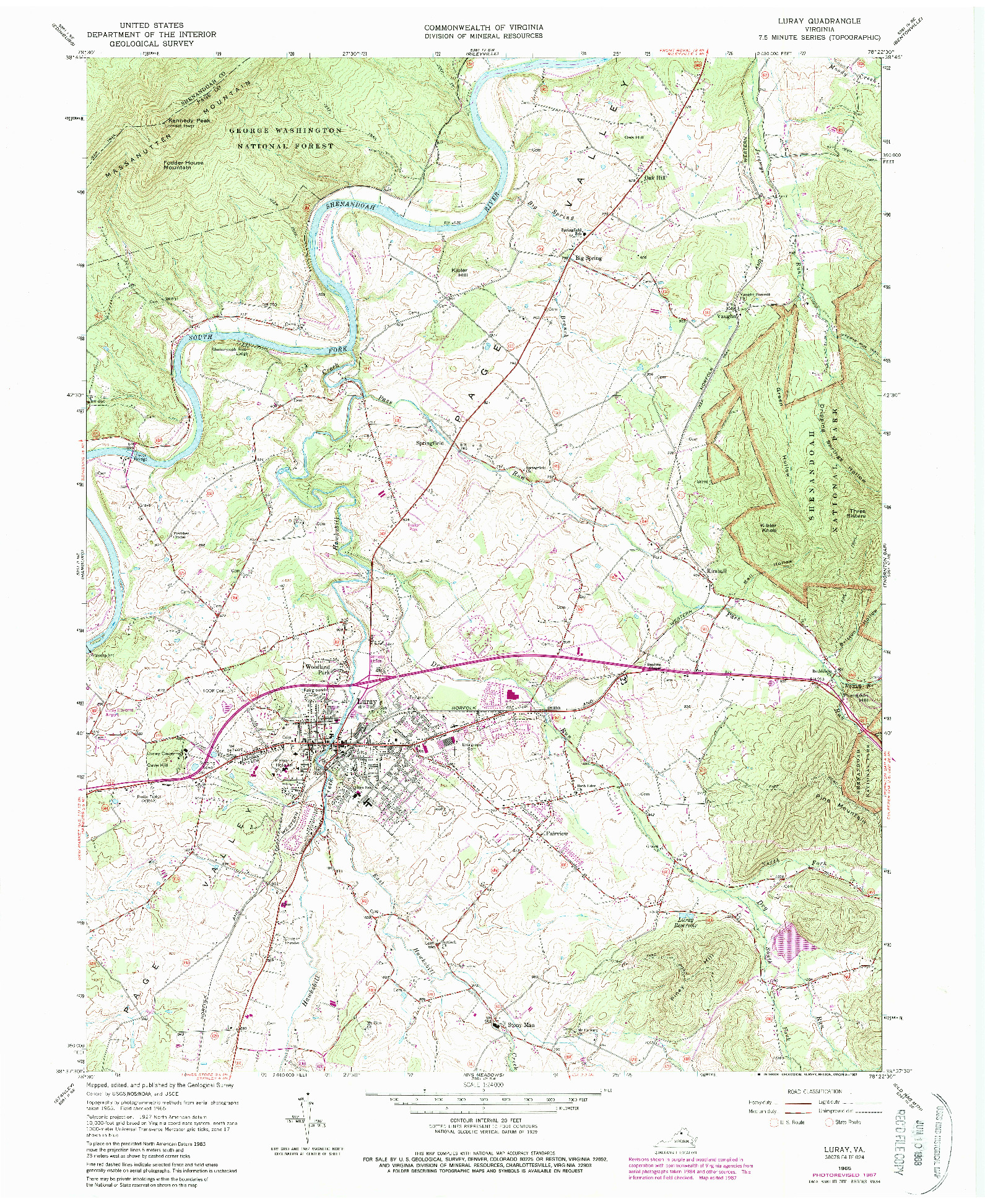 USGS 1:24000-SCALE QUADRANGLE FOR LURAY, VA 1965