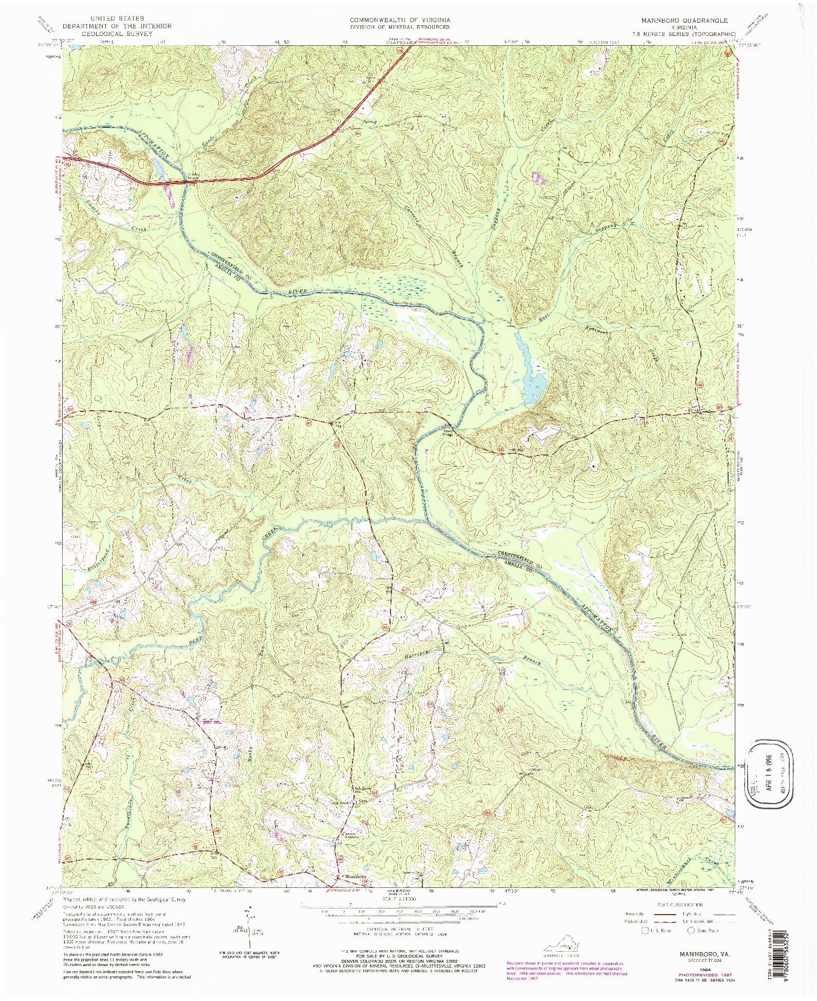 USGS 1:24000-SCALE QUADRANGLE FOR MANNBORO, VA 1964
