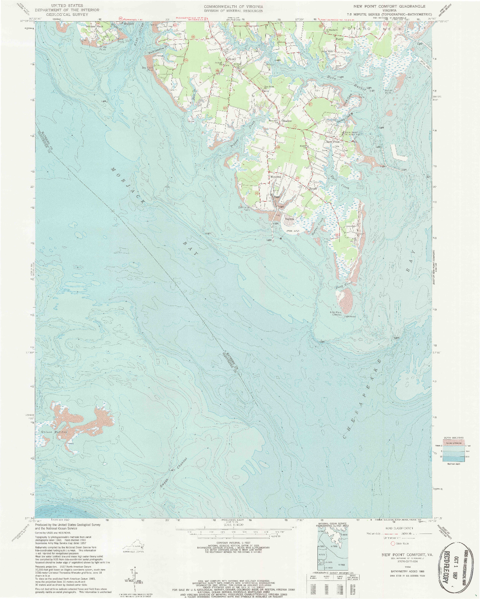 USGS 1:24000-SCALE QUADRANGLE FOR NEW POINT COMFORT, VA 1964