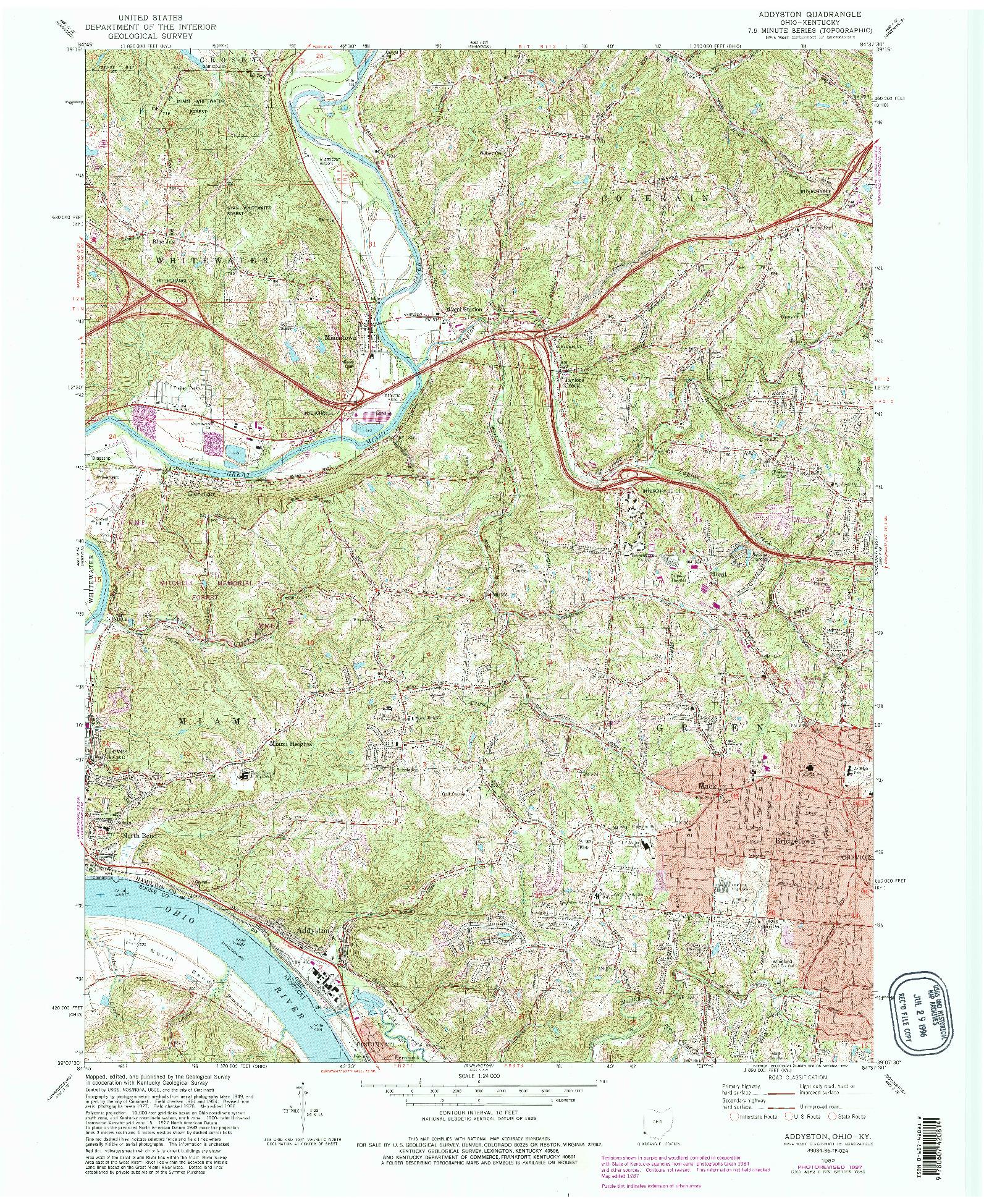 USGS 1:24000-SCALE QUADRANGLE FOR ADDYSTON, OH 1982