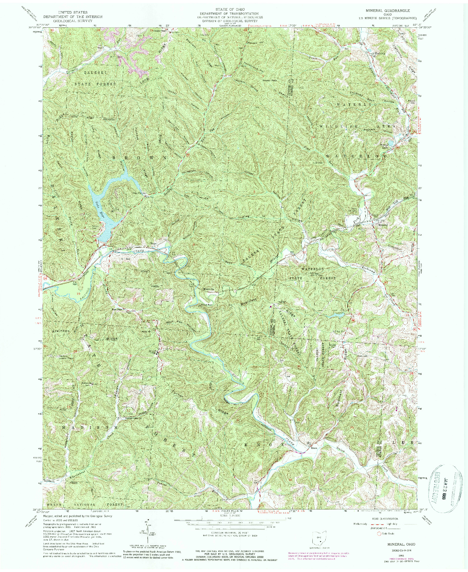 USGS 1:24000-SCALE QUADRANGLE FOR MINERAL, OH 1961