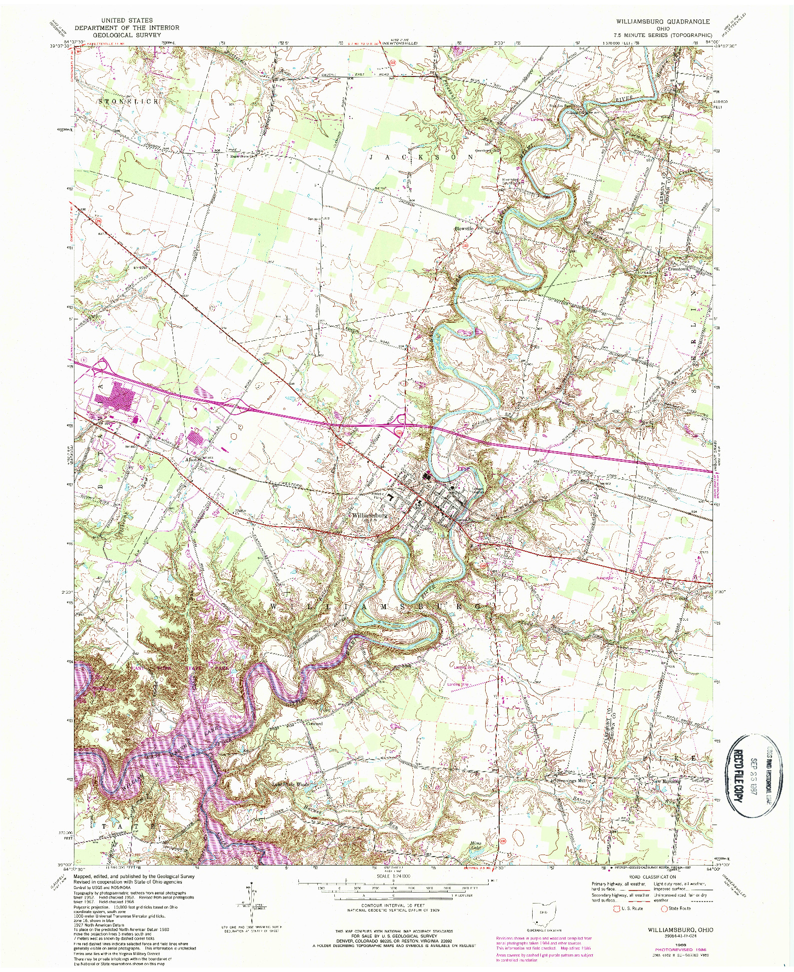 USGS 1:24000-SCALE QUADRANGLE FOR WILLIAMSBURG, OH 1968