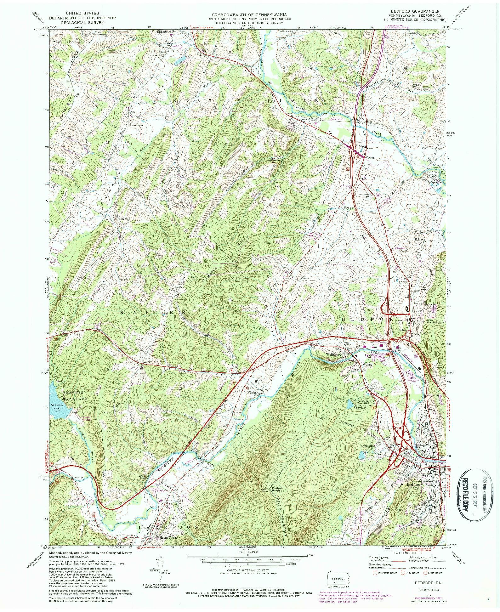 USGS 1:24000-SCALE QUADRANGLE FOR BEDFORD, PA 1971