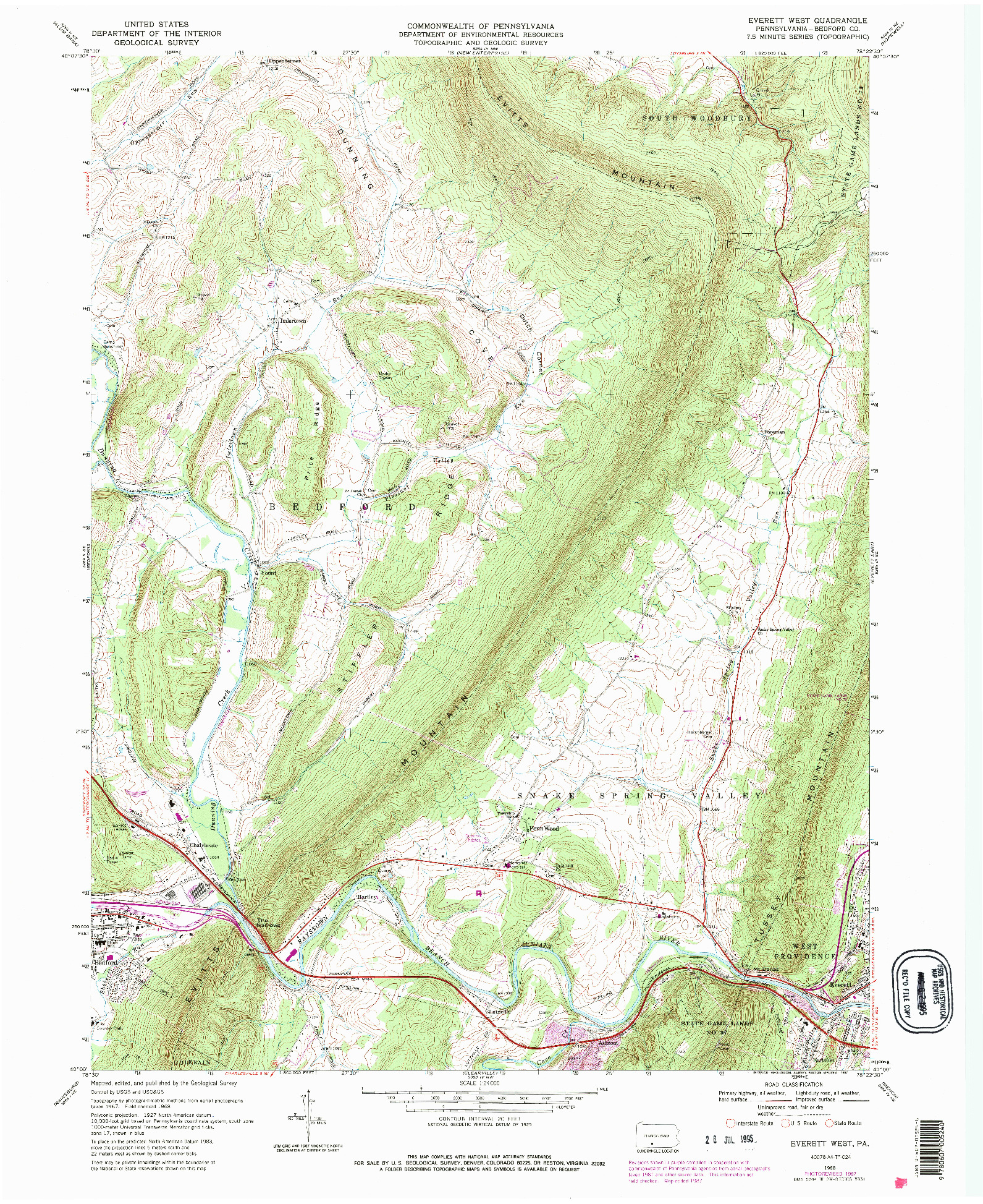 USGS 1:24000-SCALE QUADRANGLE FOR EVERETT WEST, PA 1968