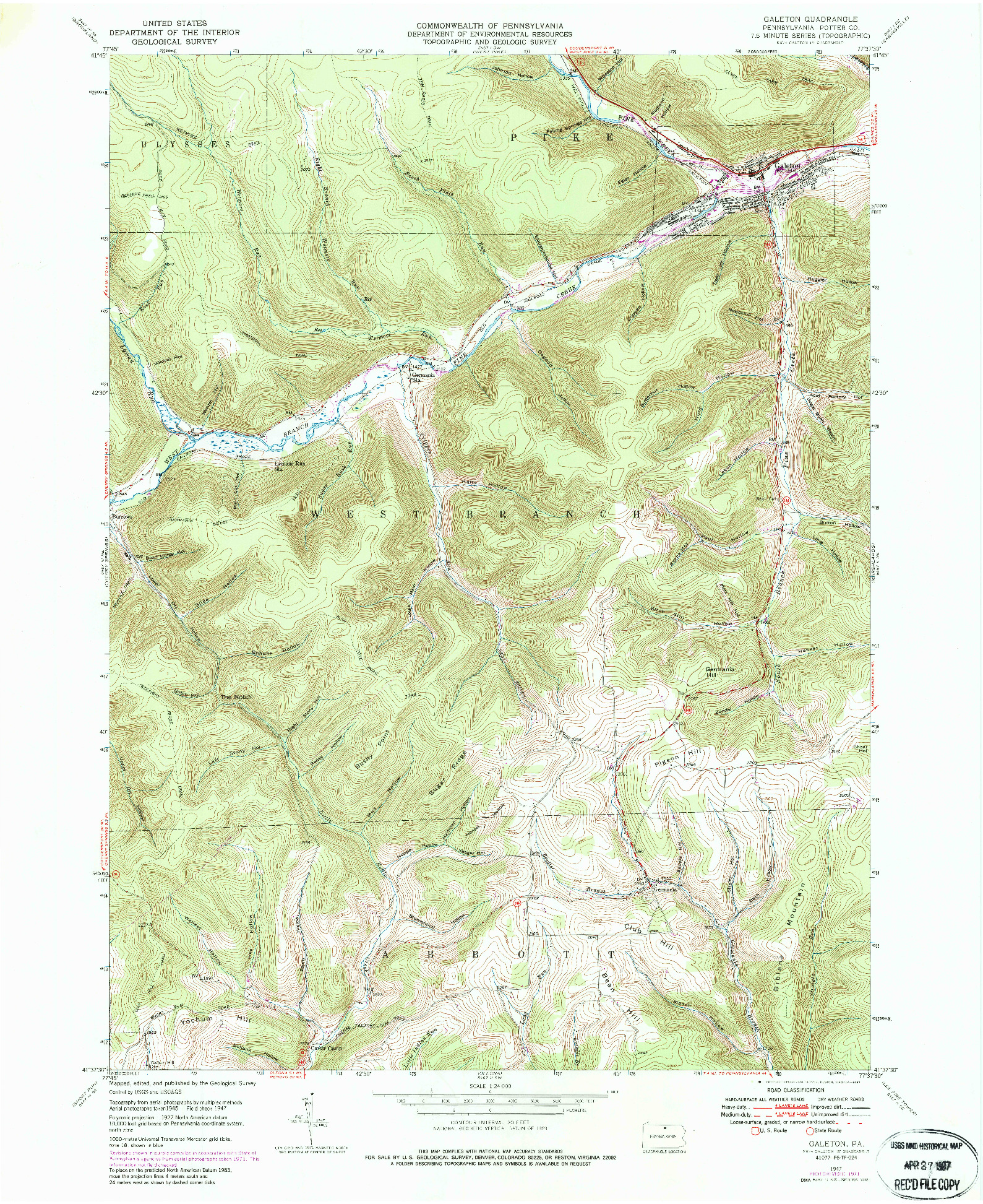 USGS 1:24000-SCALE QUADRANGLE FOR GALETON, PA 1947