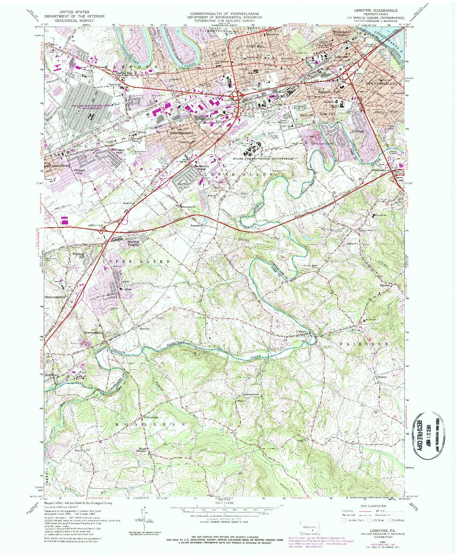 USGS 1:24000-SCALE QUADRANGLE FOR LEMOYNE, PA 1963