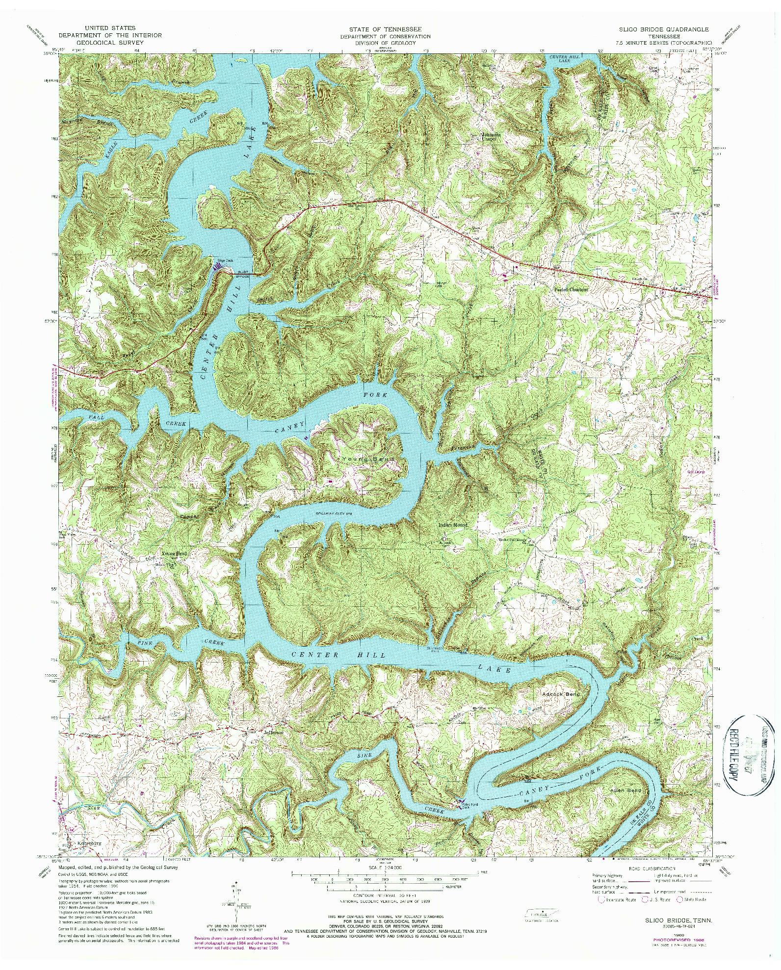 USGS 1:24000-SCALE QUADRANGLE FOR SLIGO BRIDGE, TN 1960