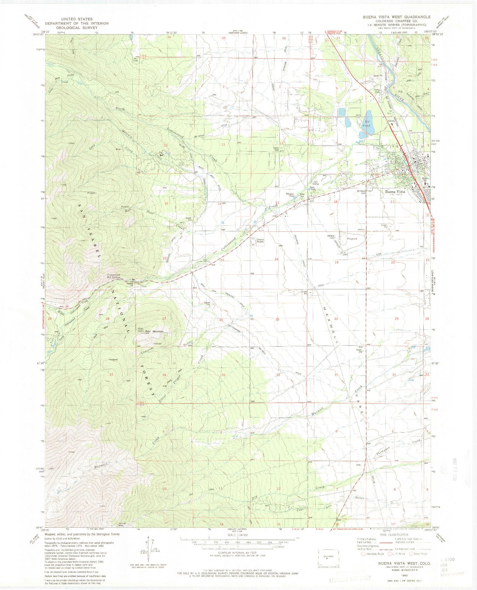 USGS 1:24000-SCALE QUADRANGLE FOR BUENA VISTA WEST, CO 1982