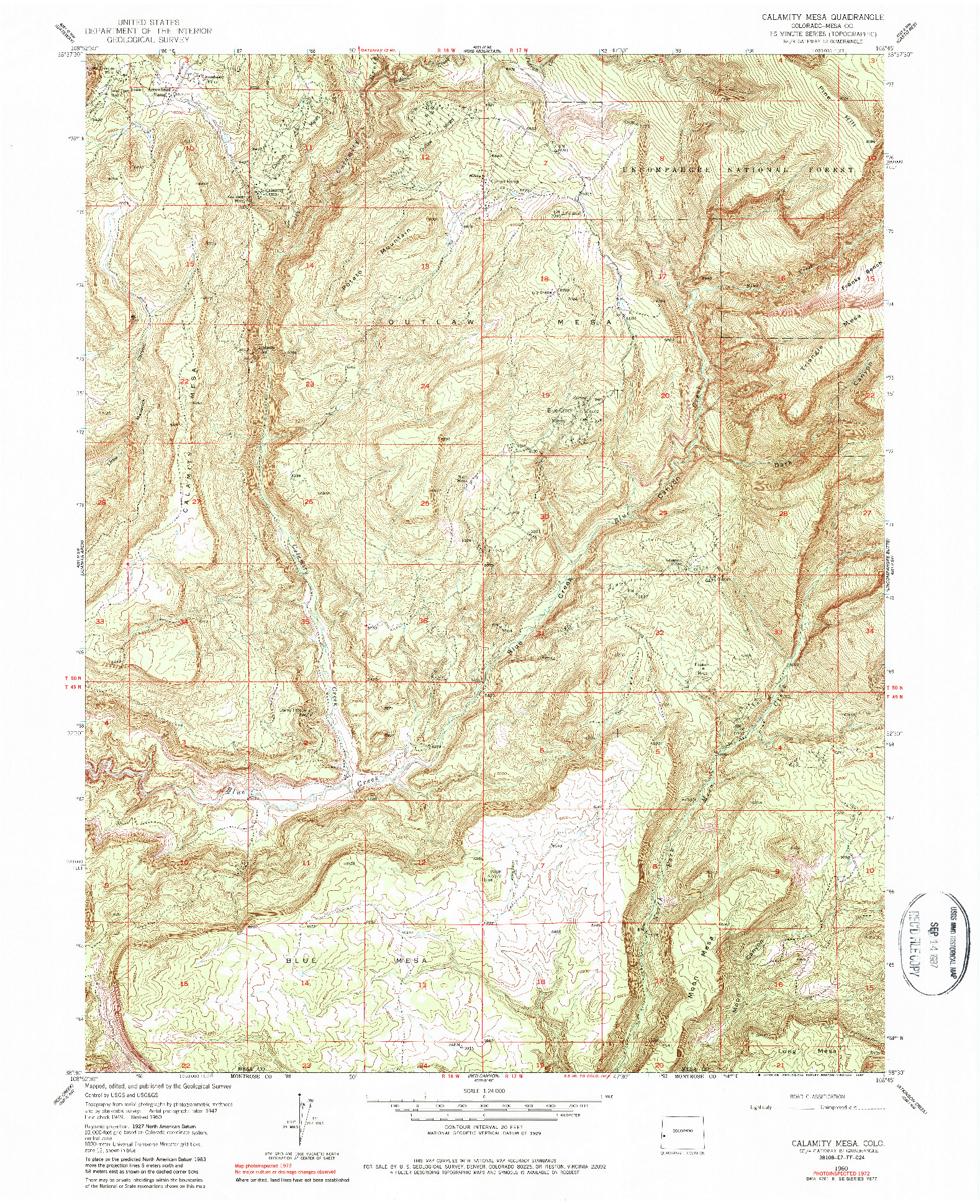 USGS 1:24000-SCALE QUADRANGLE FOR CALAMITY MESA, CO 1960