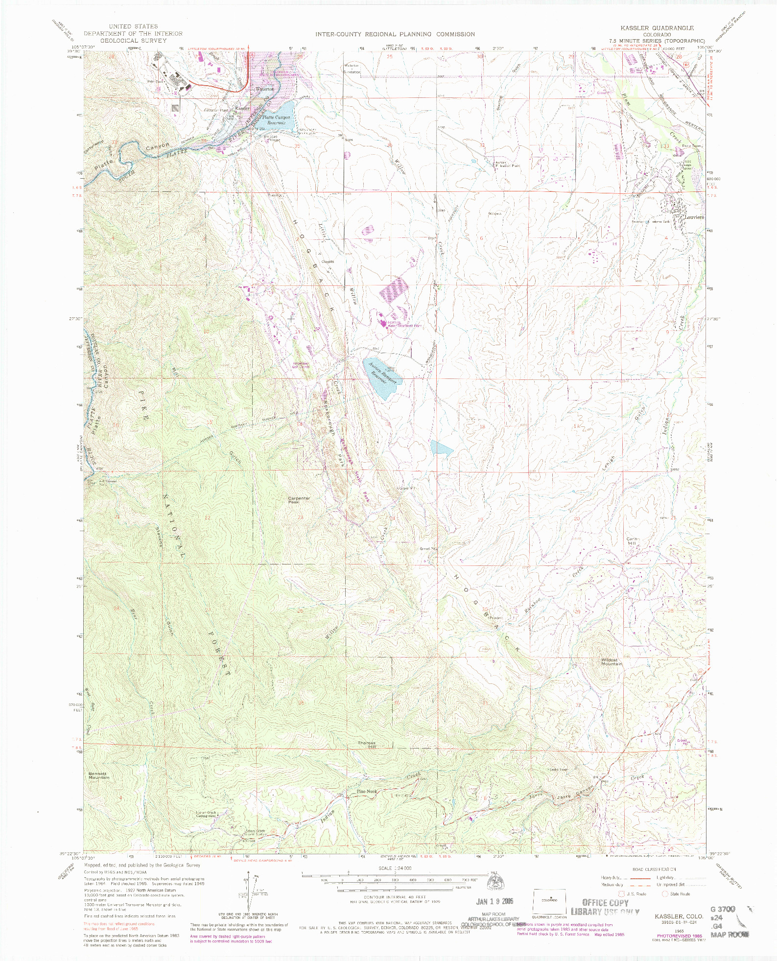 USGS 1:24000-SCALE QUADRANGLE FOR KASSLER, CO 1965