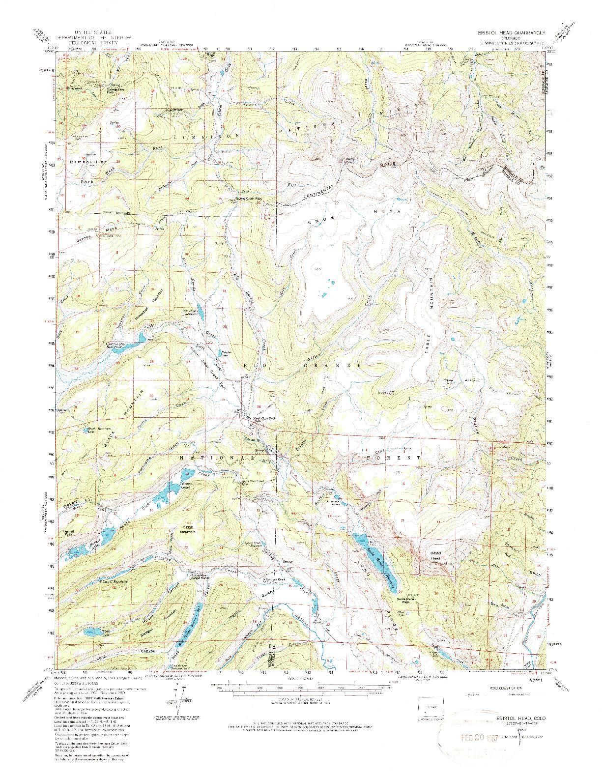USGS 1:62500-SCALE QUADRANGLE FOR BRISTOL HEAD, CO 1959