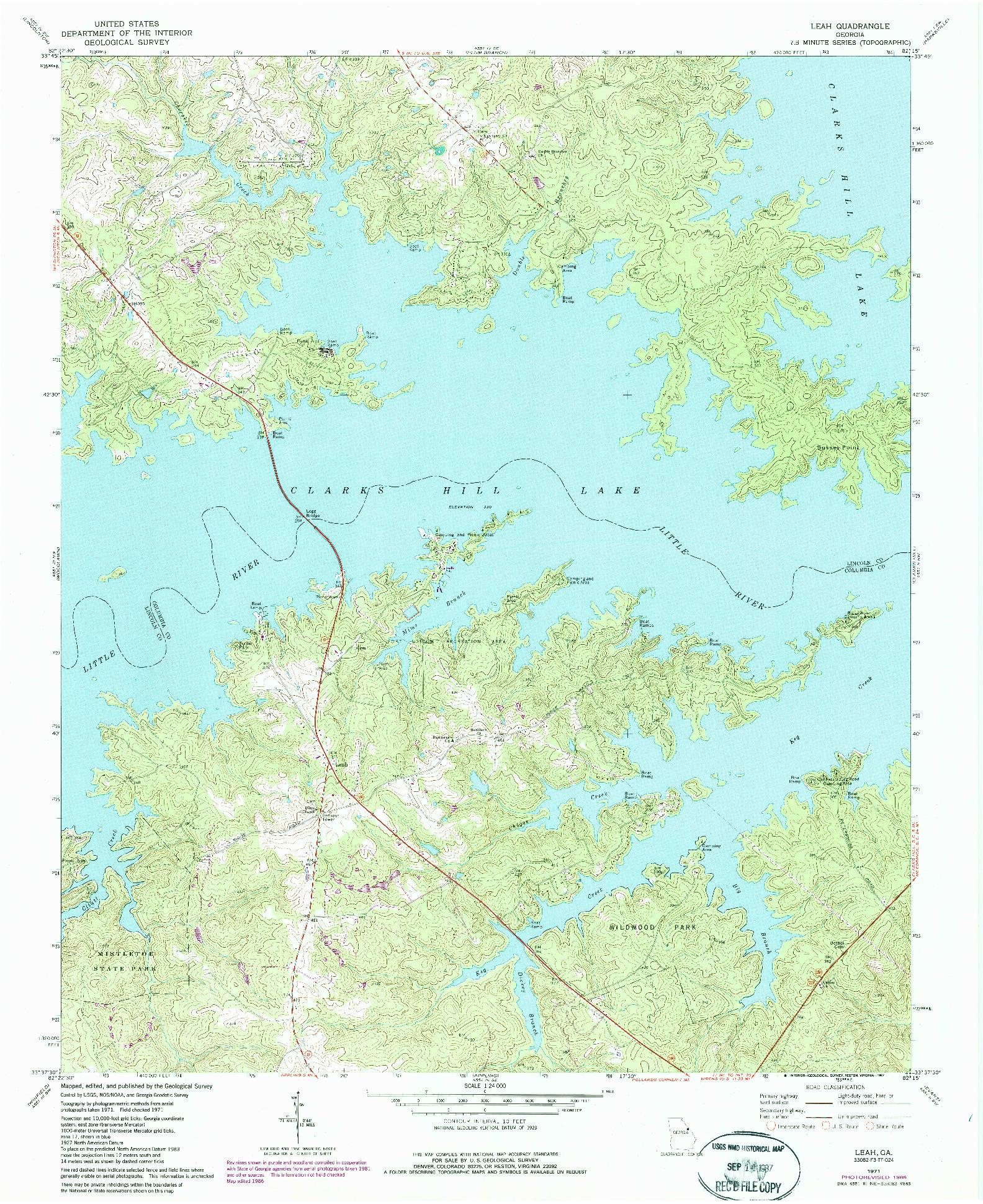USGS 1:24000-SCALE QUADRANGLE FOR LEAH, GA 1971
