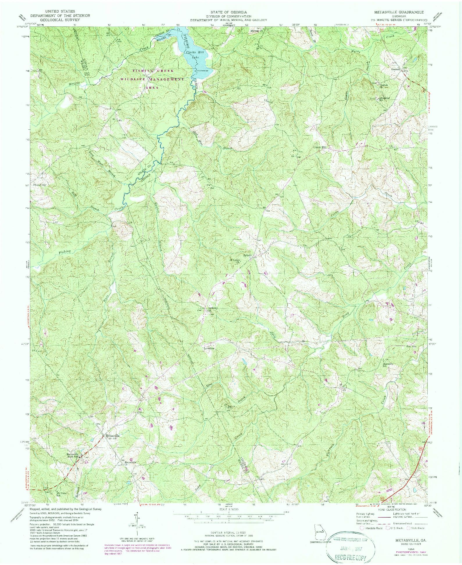 USGS 1:24000-SCALE QUADRANGLE FOR METASVILLE, GA 1954