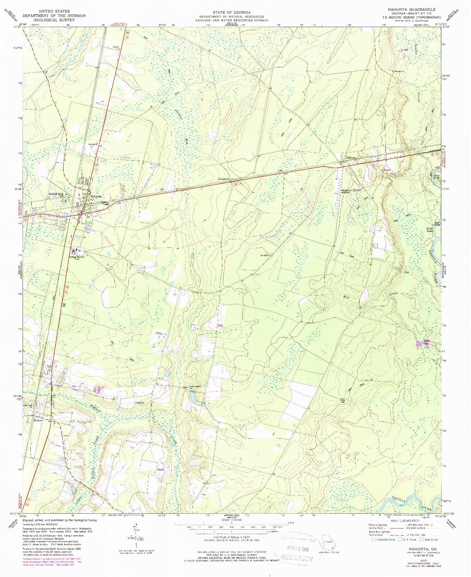 USGS 1:24000-SCALE QUADRANGLE FOR NAHUNTA, GA 1978