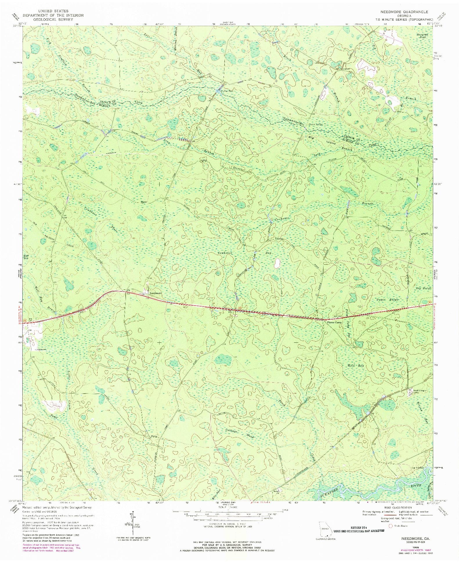USGS 1:24000-SCALE QUADRANGLE FOR NEEDMORE, GA 1968