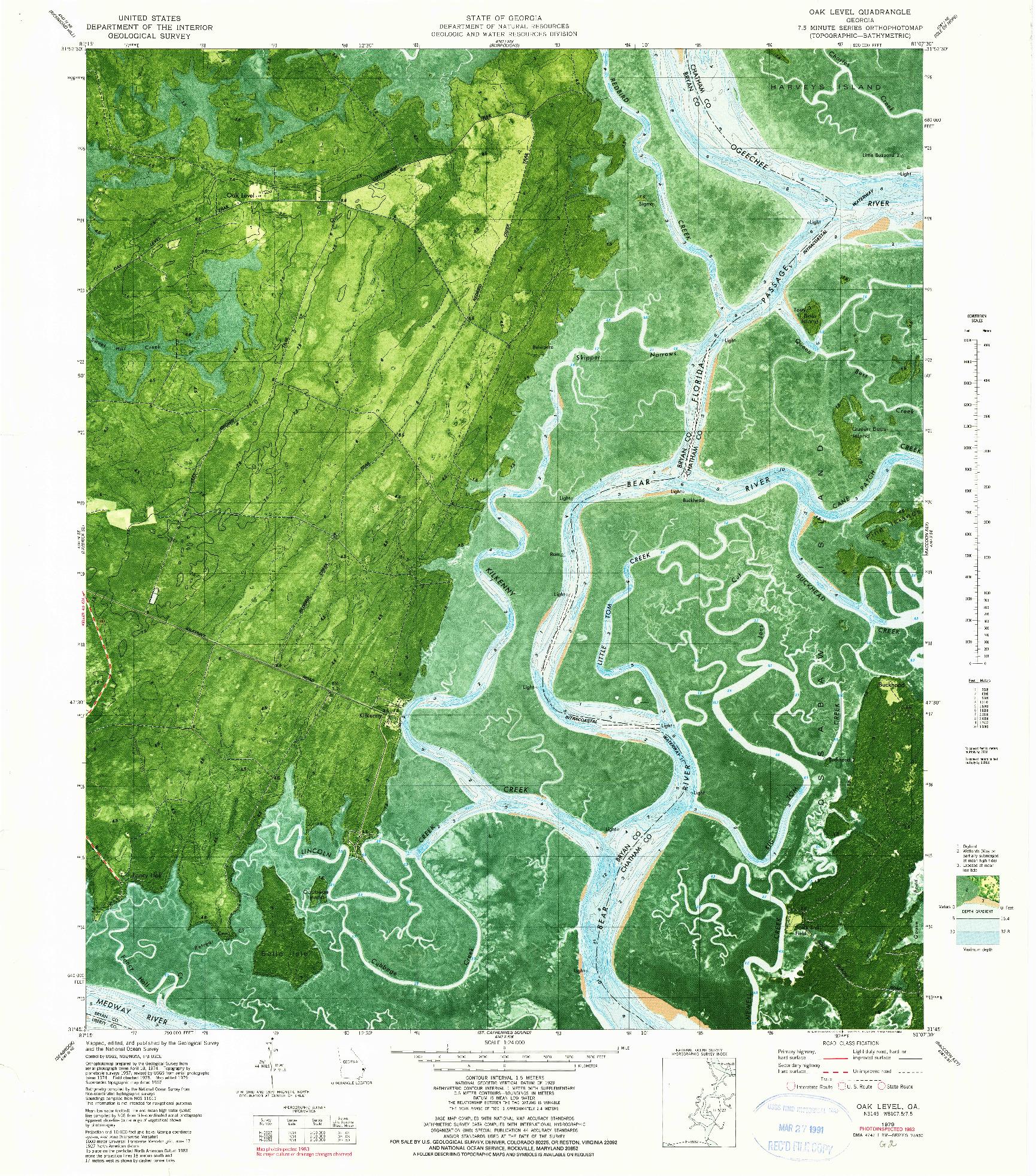 USGS 1:24000-SCALE QUADRANGLE FOR OAK LEVEL, GA 1979