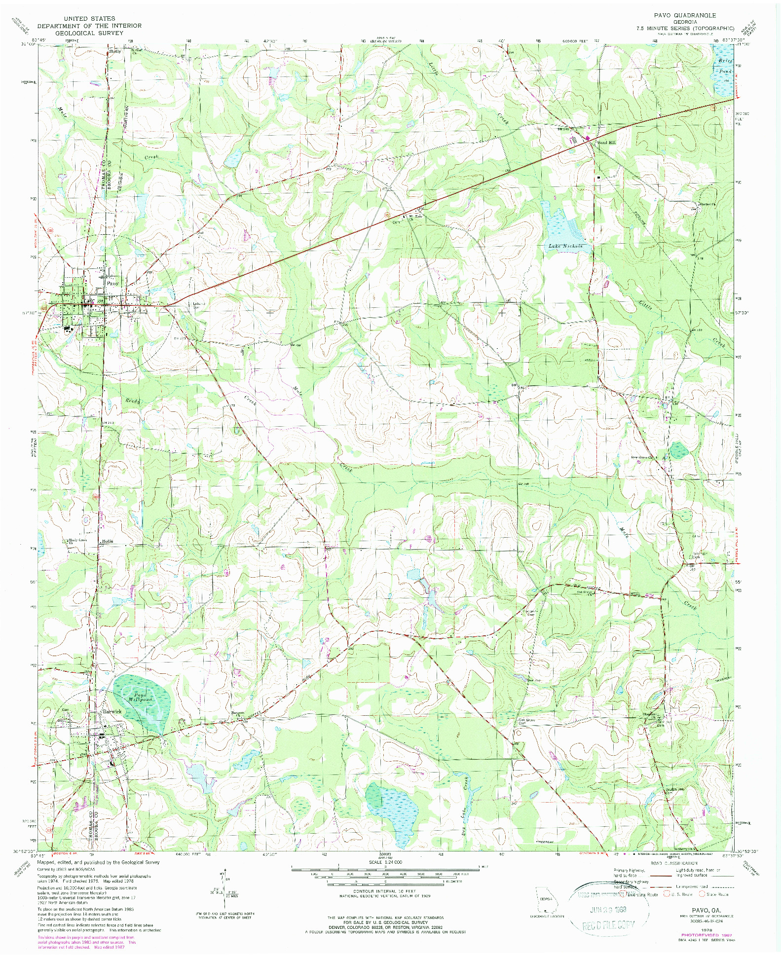 USGS 1:24000-SCALE QUADRANGLE FOR PAVO, GA 1978