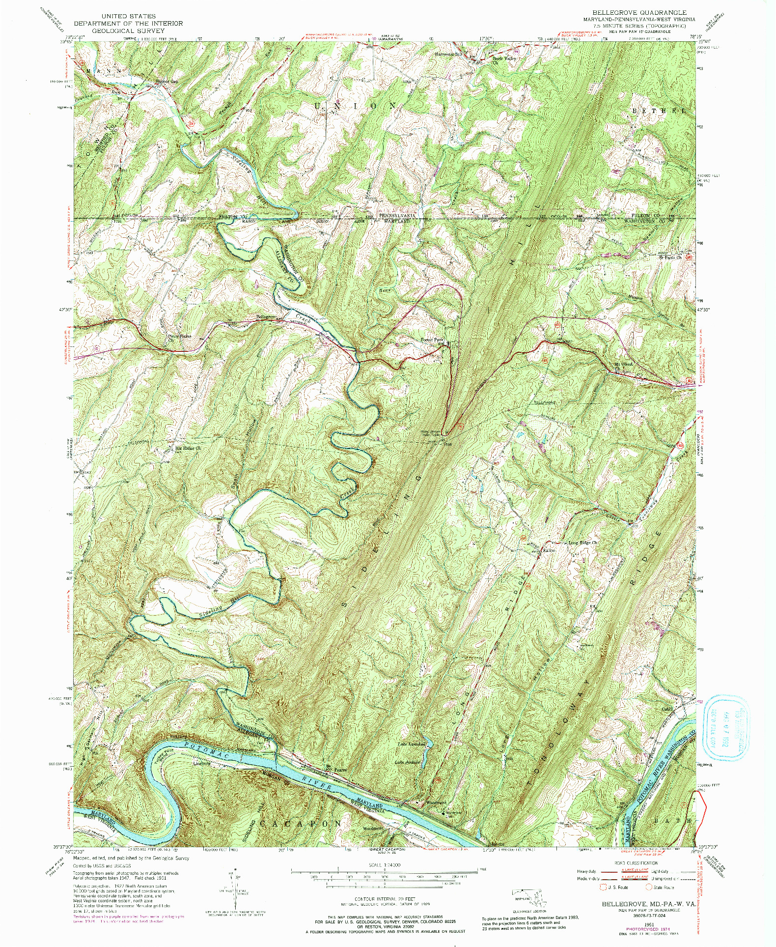 USGS 1:24000-SCALE QUADRANGLE FOR BELLEGROVE, MD 1951